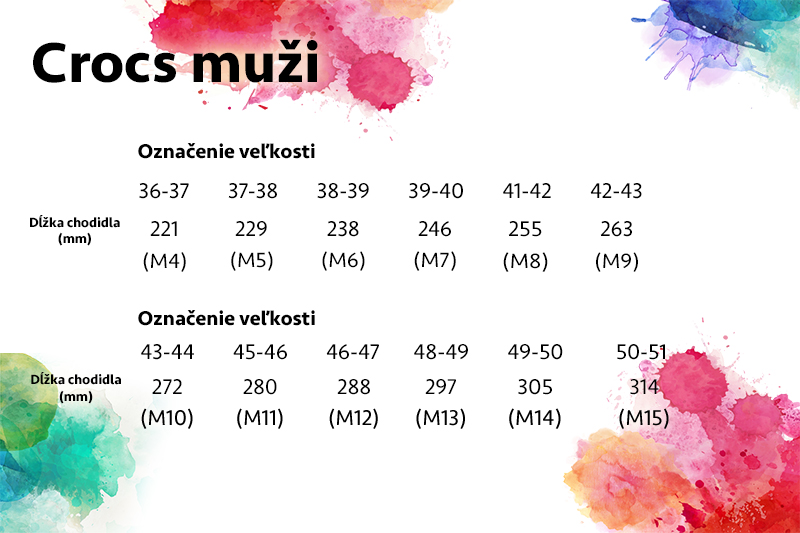 9168e7ba27 Tabuľka veľkostí CROCS • Differenta.sk
