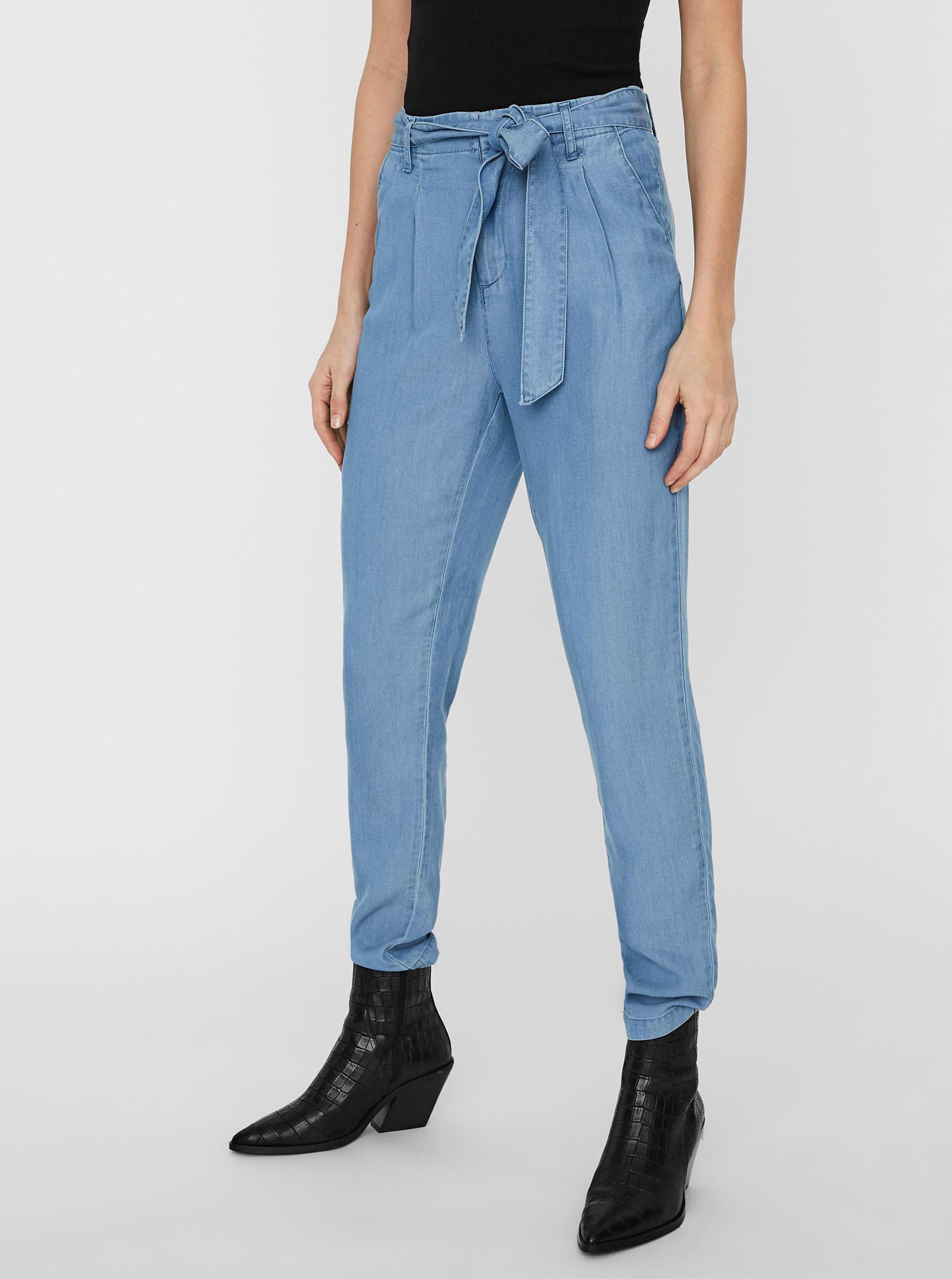 Vero Moda modré skrátené nohavice Mia - XS