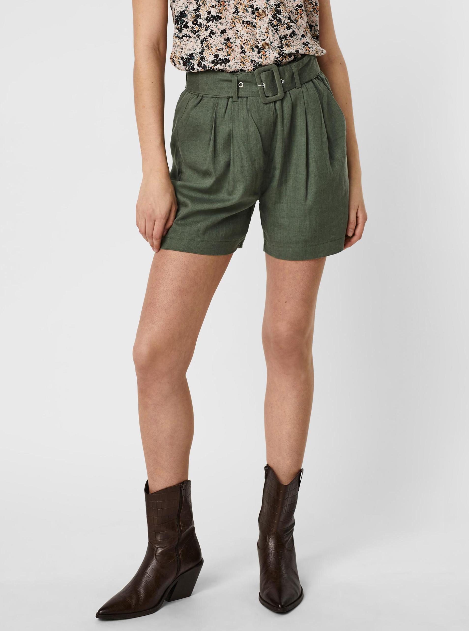 Vero Moda zelené kraťasy Amelia s opaskom - L