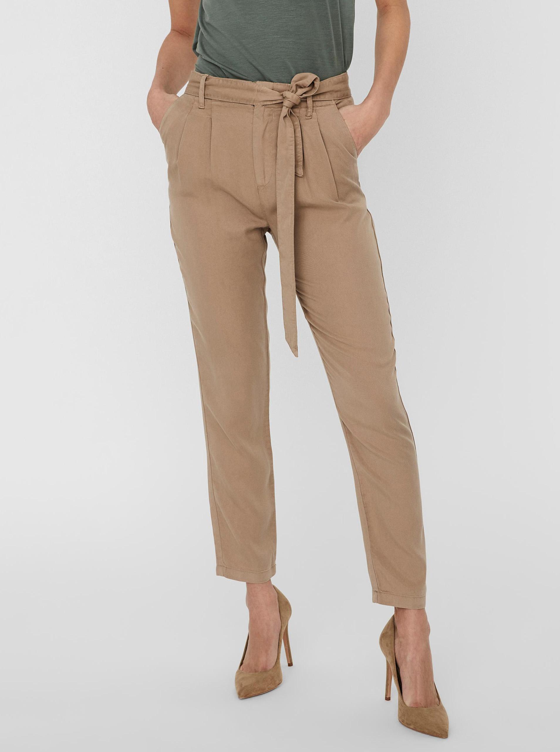 Vero Moda hnedé skrátené nohavice Mia - XS