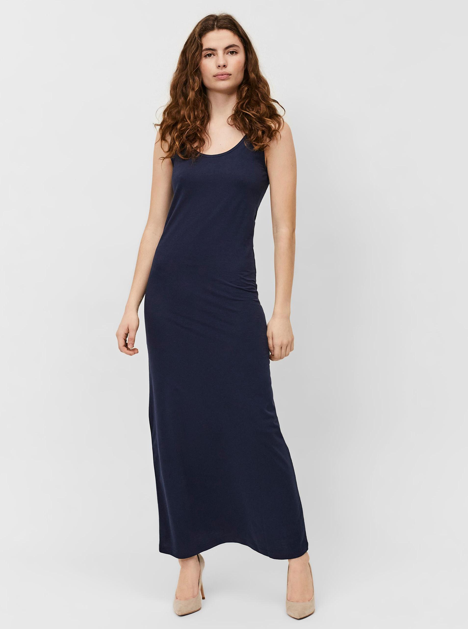 Vero Moda modré maxi basic šaty Nanna - XS