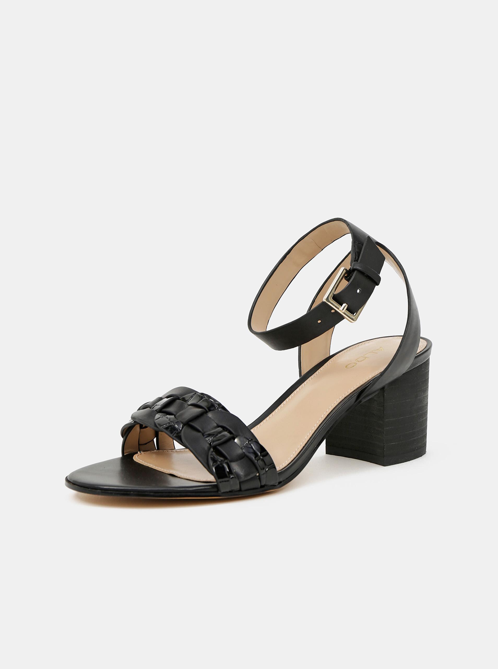 ALDO čierne kožené na podpätku sandále Katerina - 40
