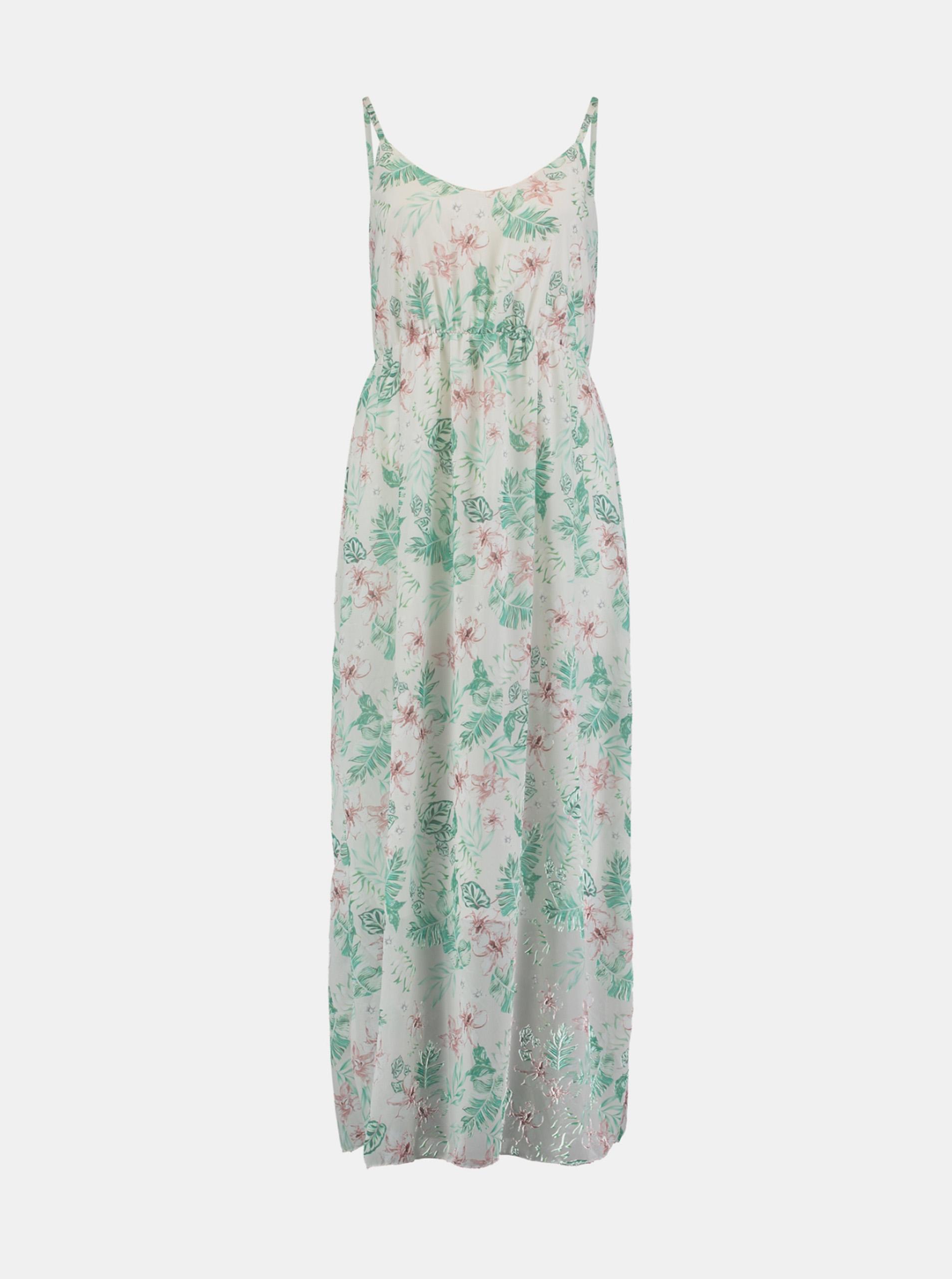 Hailys zelené maxi kvetované šaty - S
