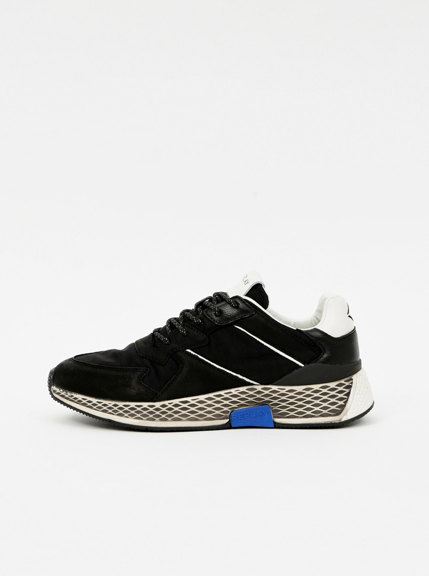 Replay čierne kožené pánske tenisky - 44