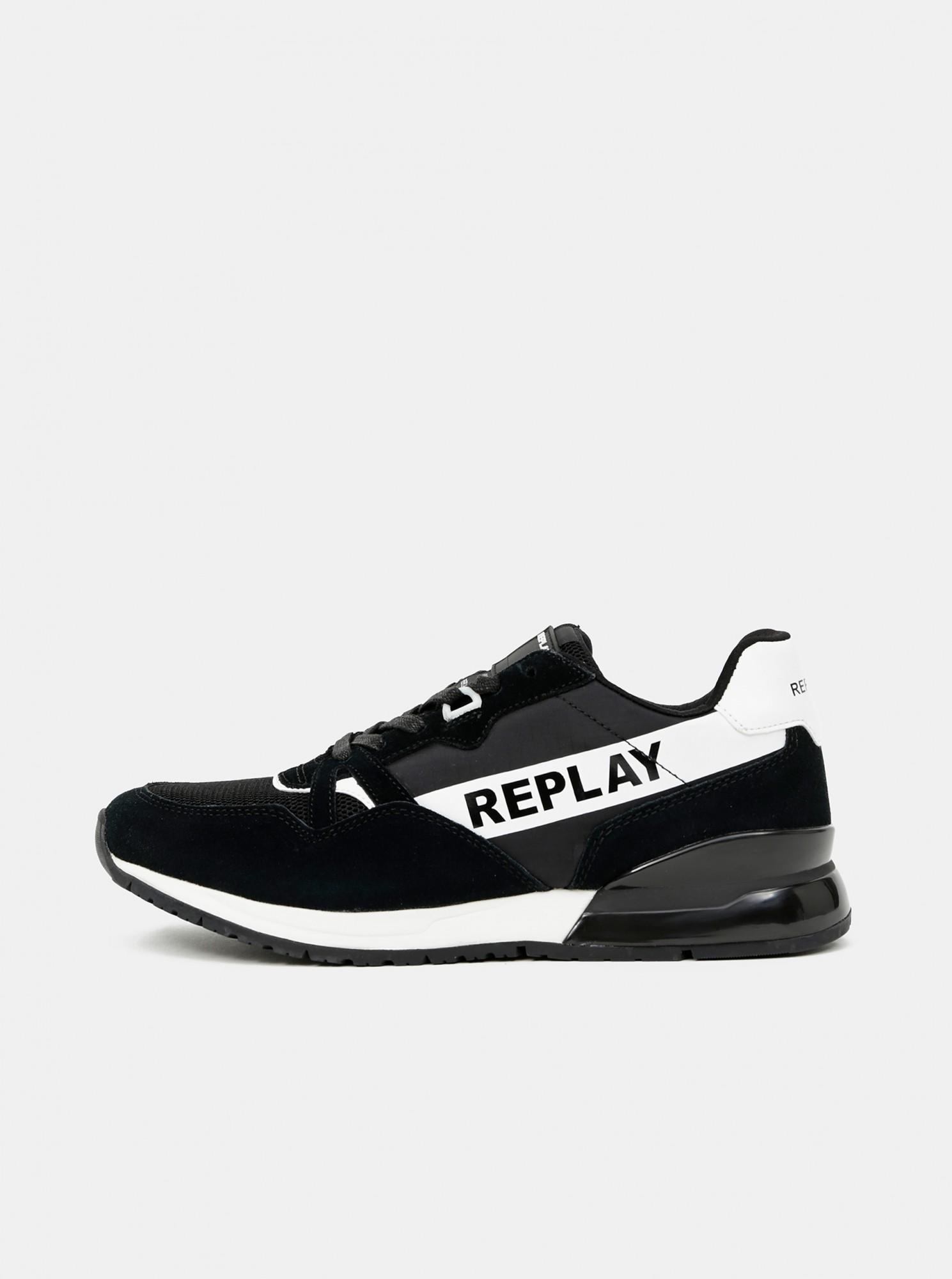 Replay čierne pánske tenisky so semišovými detailmi - 41