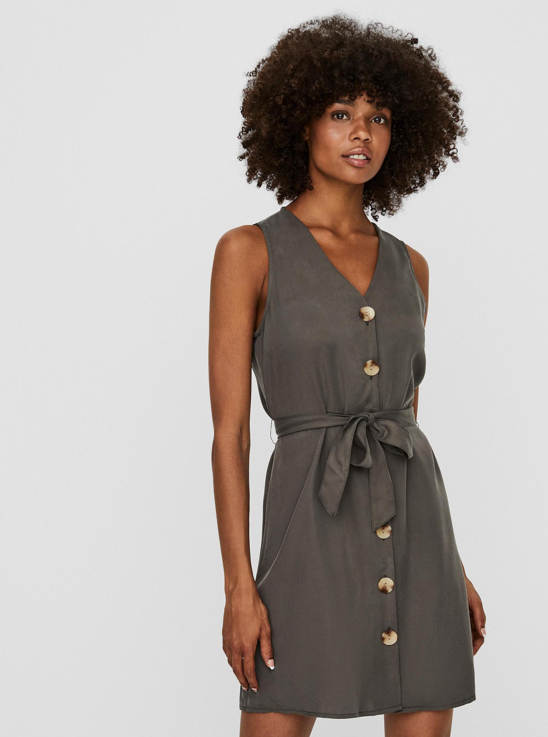 Vero Moda sivé šaty Viviana - XL