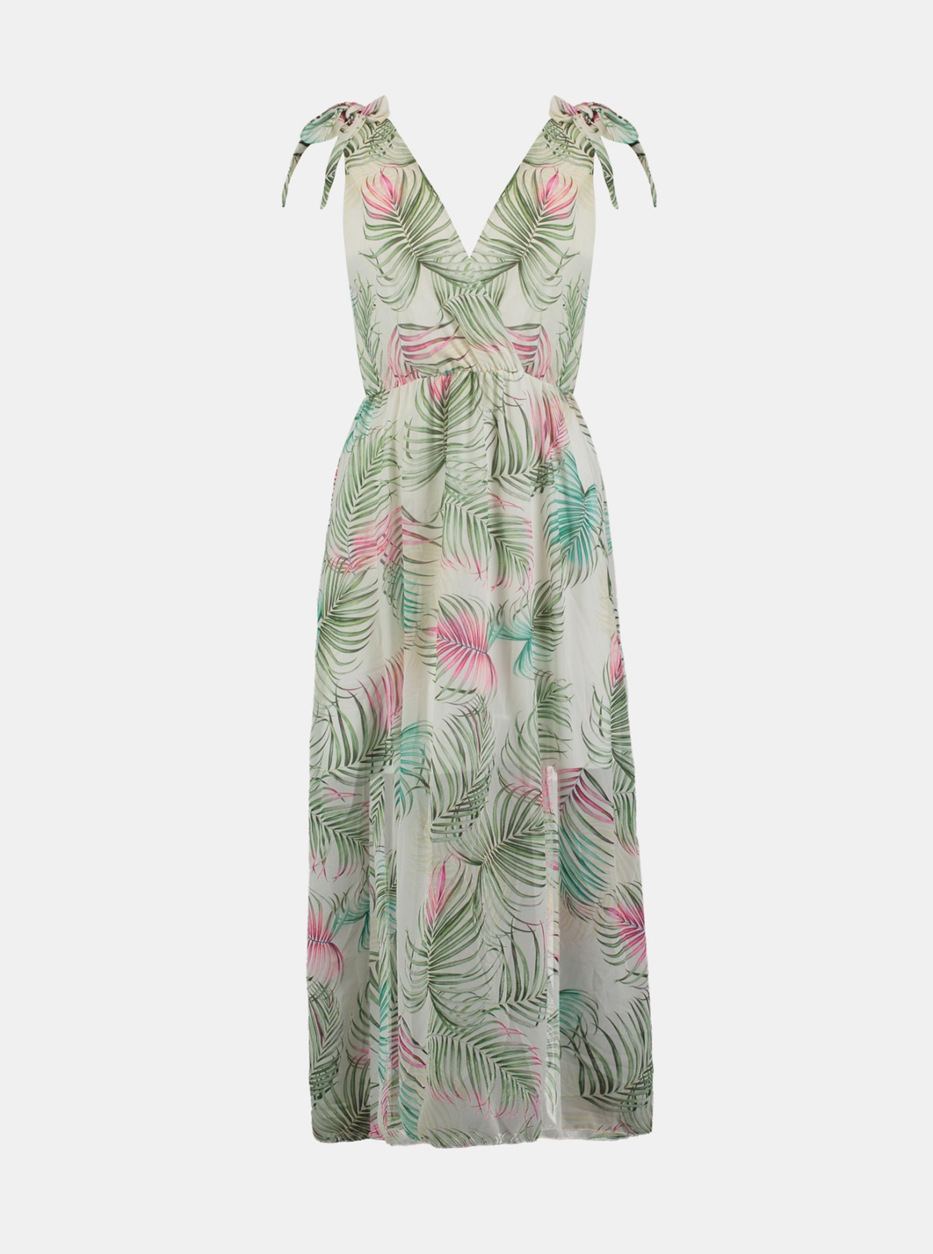 Hailys šaty s tropickými motívmi - S