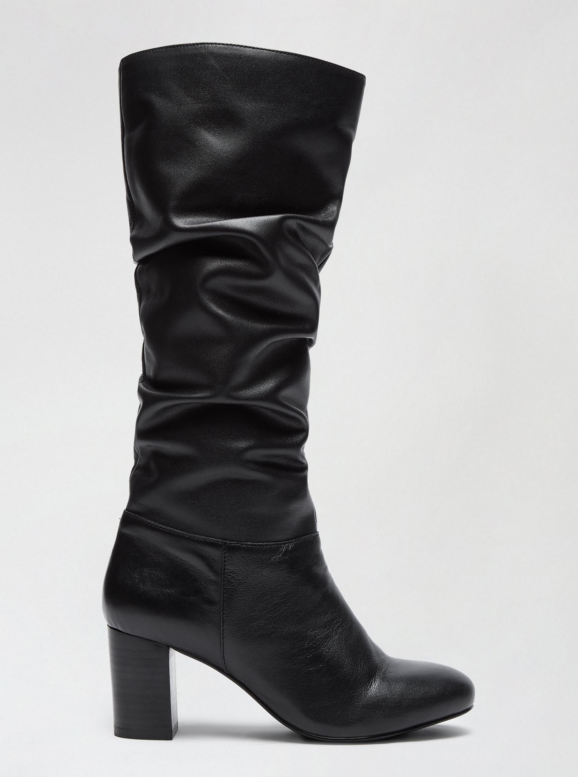 Dorothy Perkins čierne kožené čižmy - 39