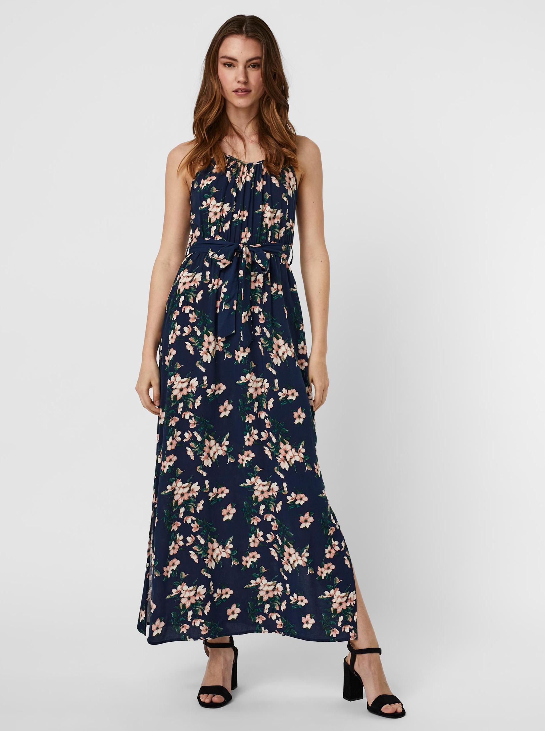 Vero Moda modré maxi kvetované šaty Simply - XS