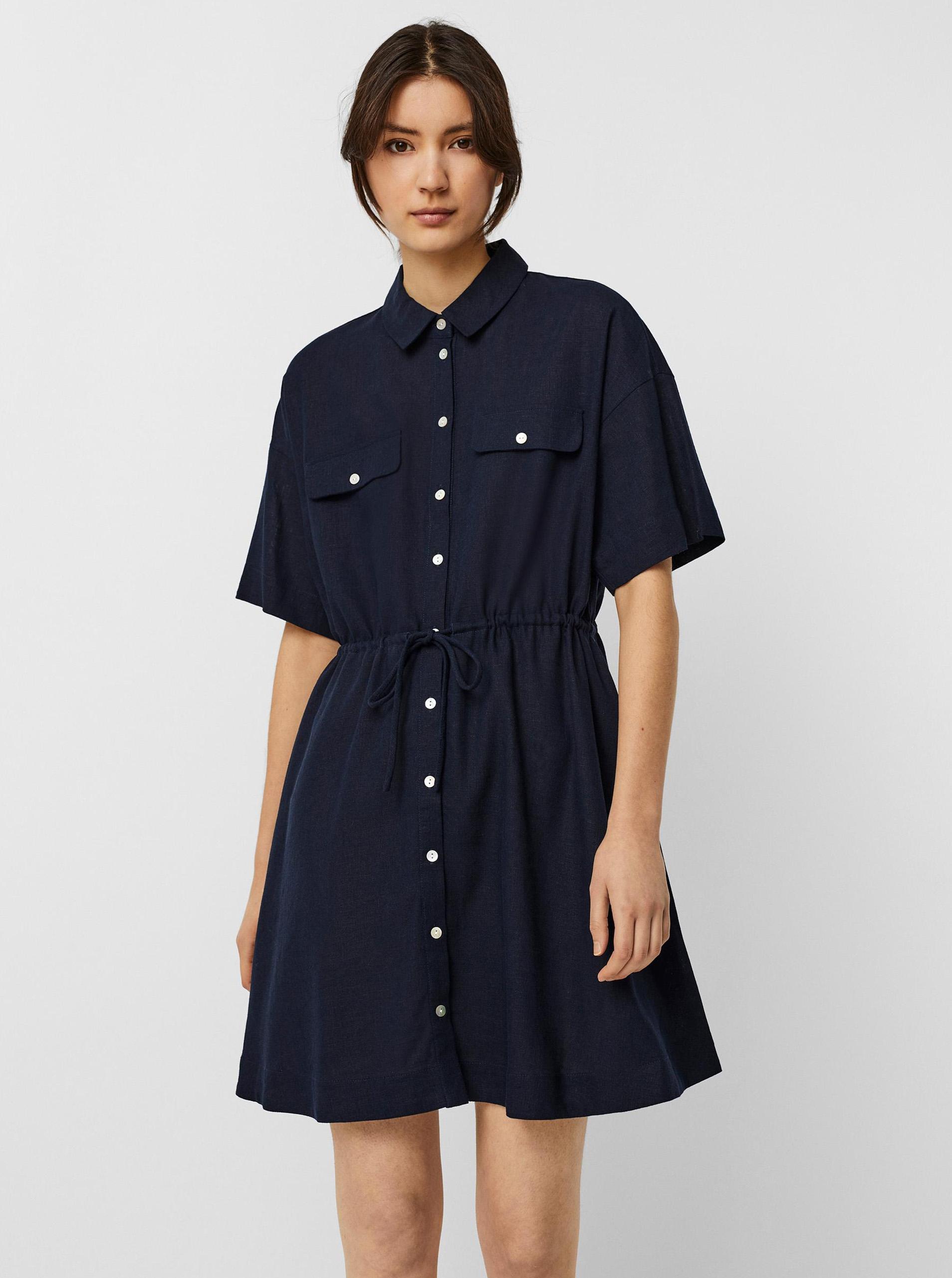 Vero Moda modré košeľové šaty Haf - M