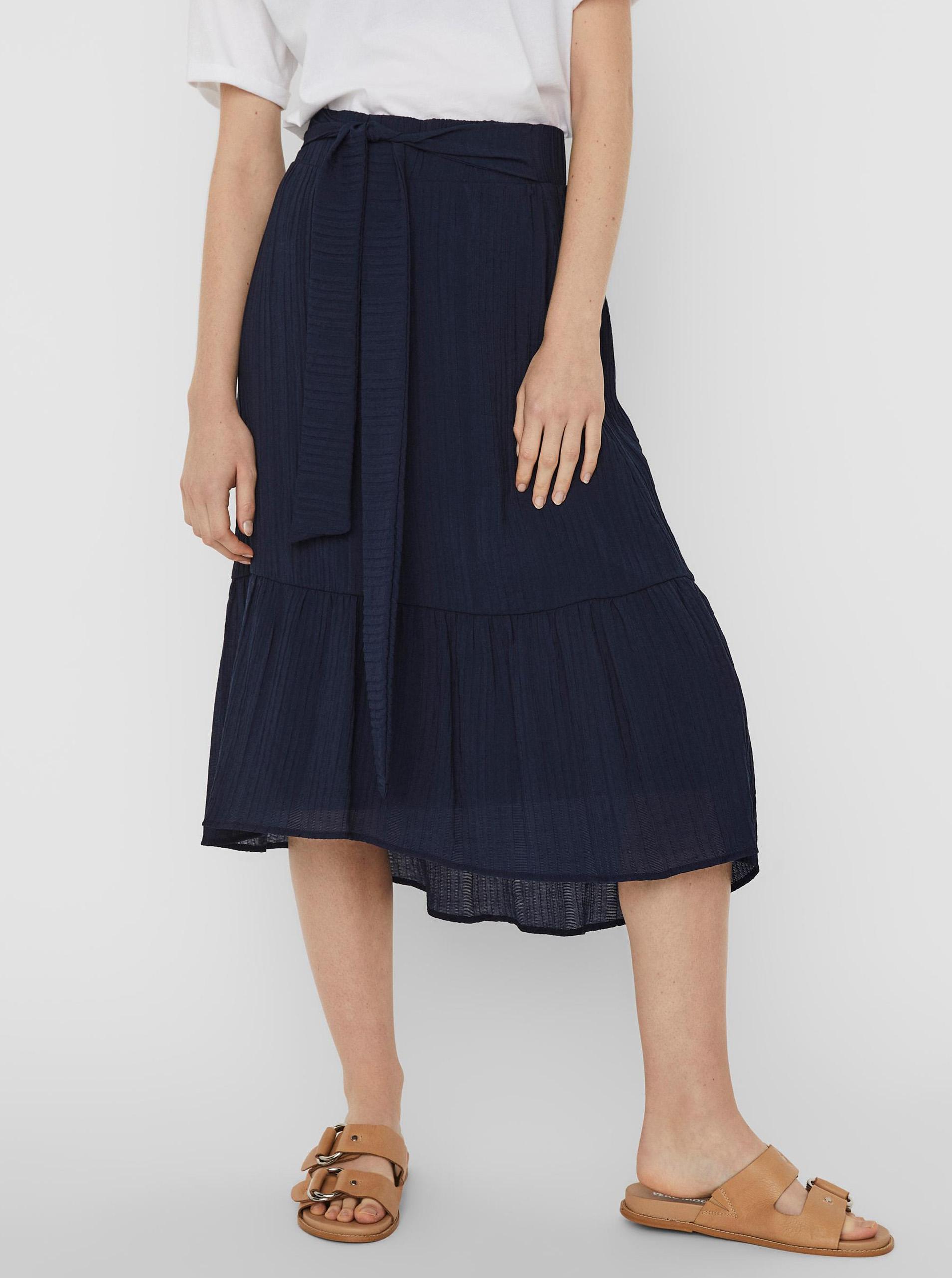 Vero Moda modré midi sukňa Hajija - XS