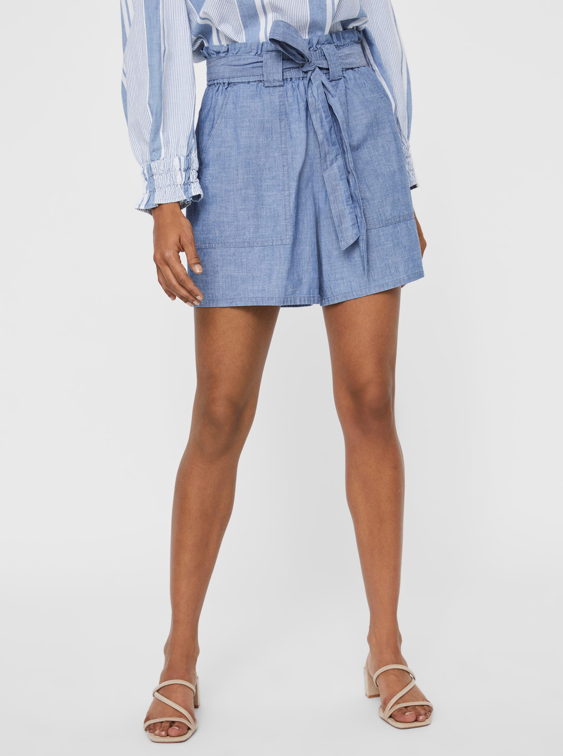 Vero Moda modré džínsové kraťasy Akela - M