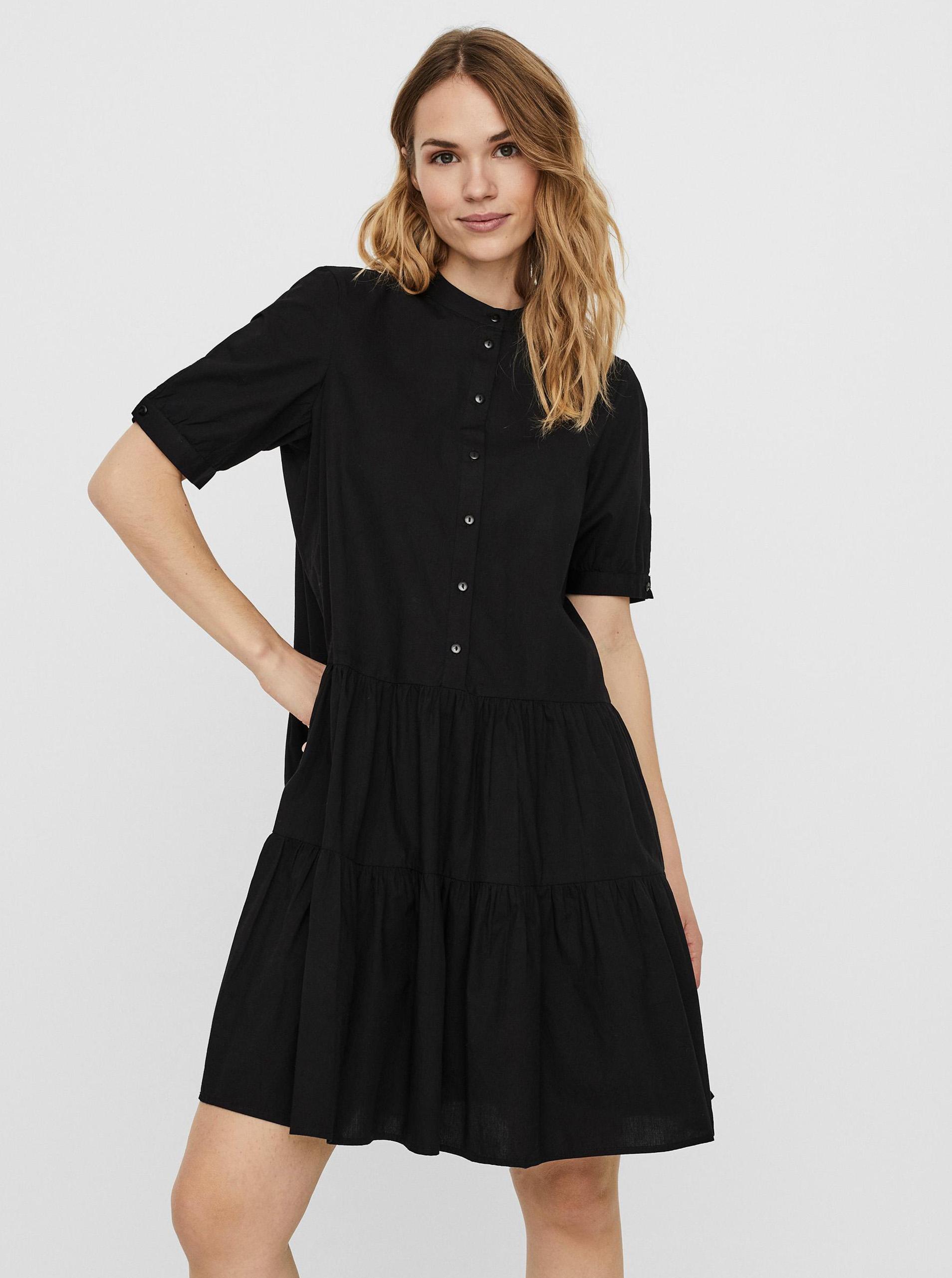 Vero Moda čierne košeľové šaty Delta - M