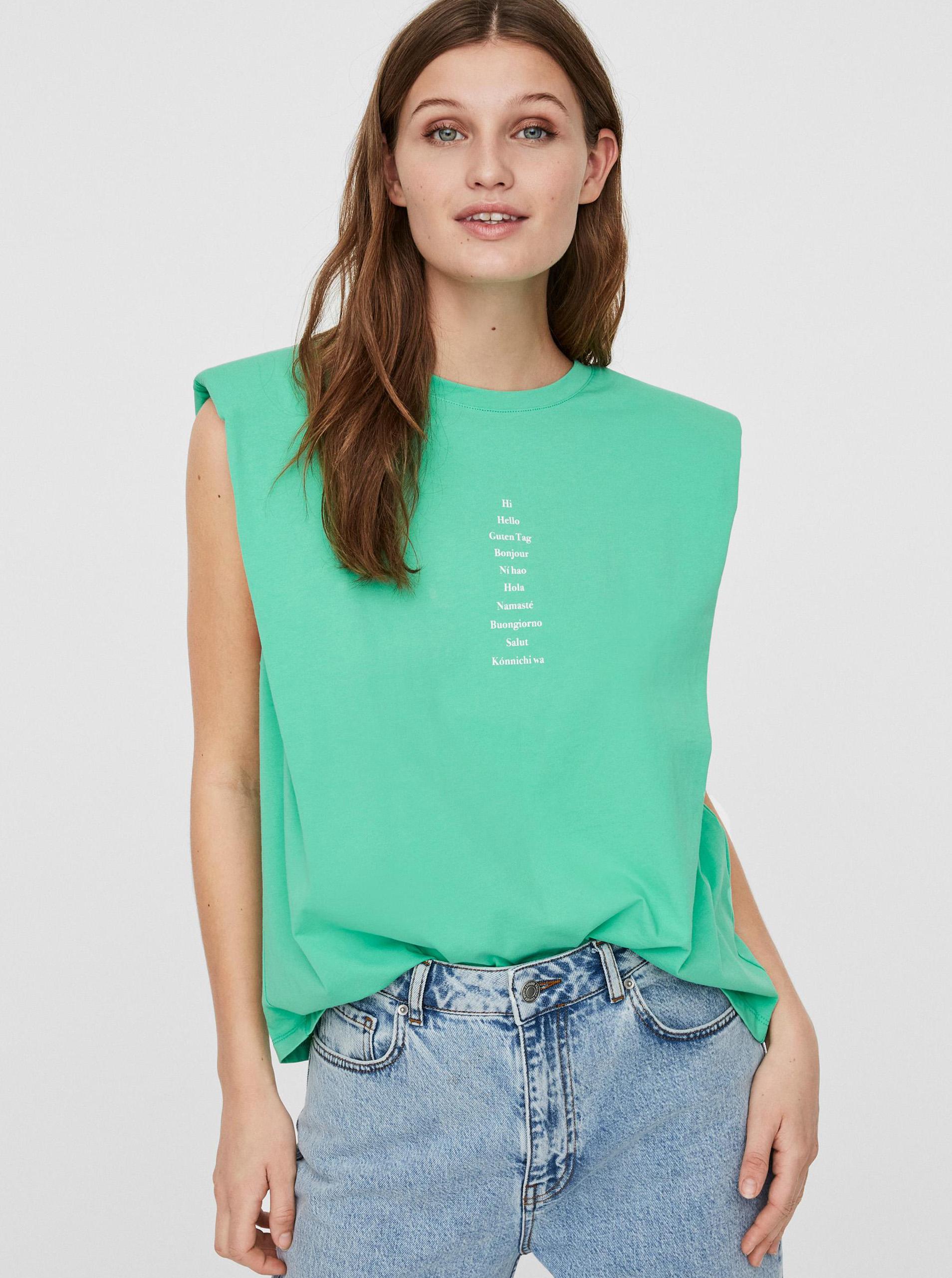 Vero Moda zelené tričko Hollie - L