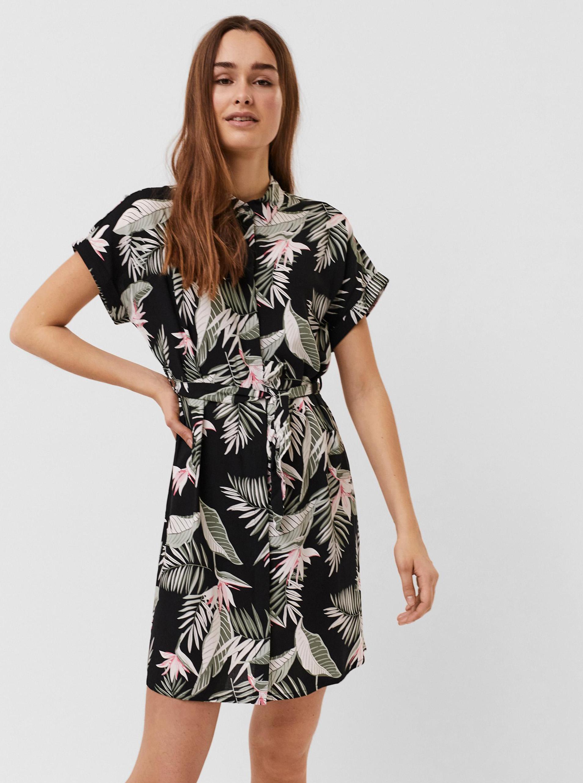 Vero Moda čierne košeľové kvetované šaty Easy - M