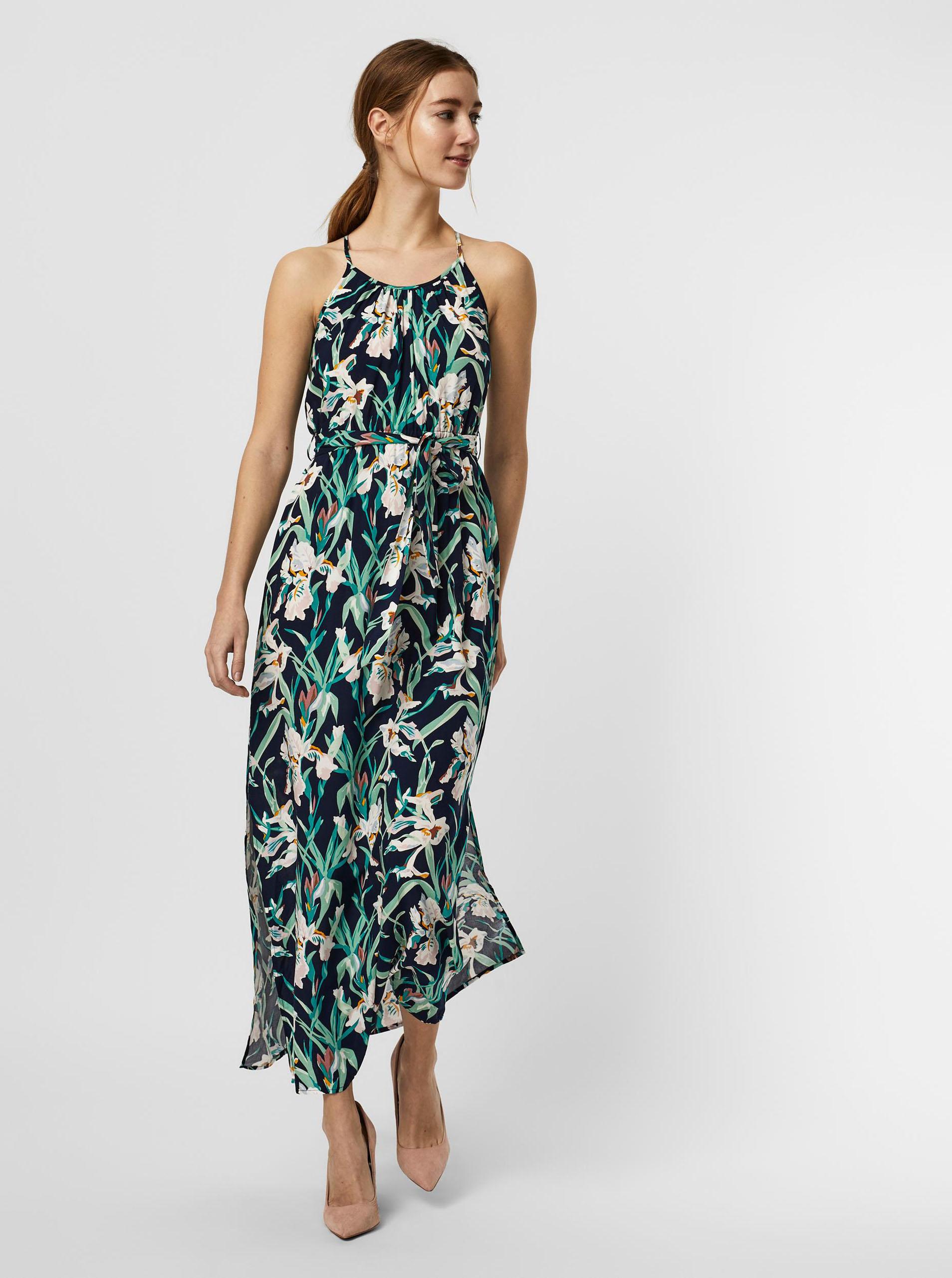 Vero Moda modré maxi kvetované šaty - XS
