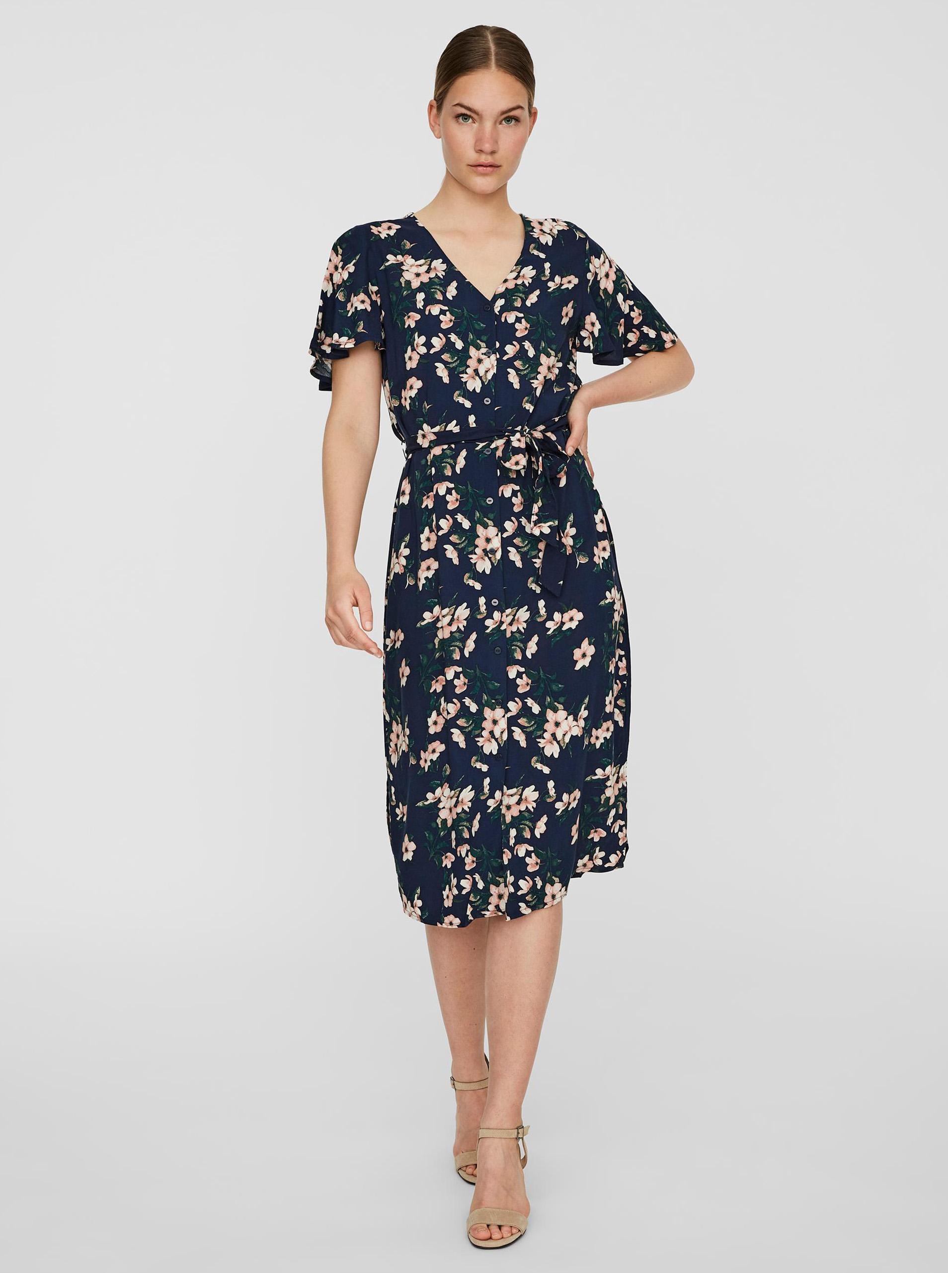 Vero Moda modré kvetované šaty - S