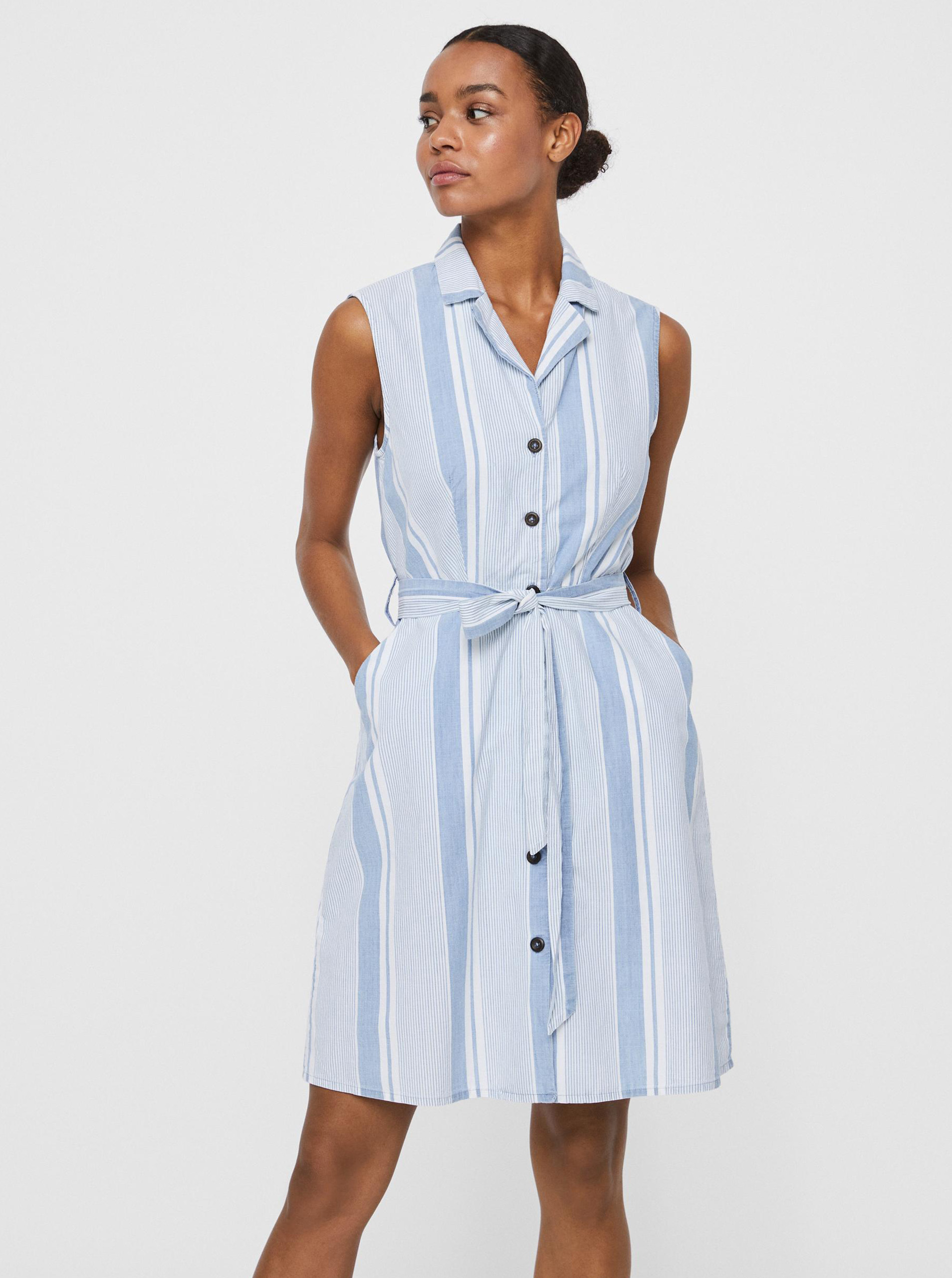 Vero Moda modré košeľové pruhované šaty Sandy - XS