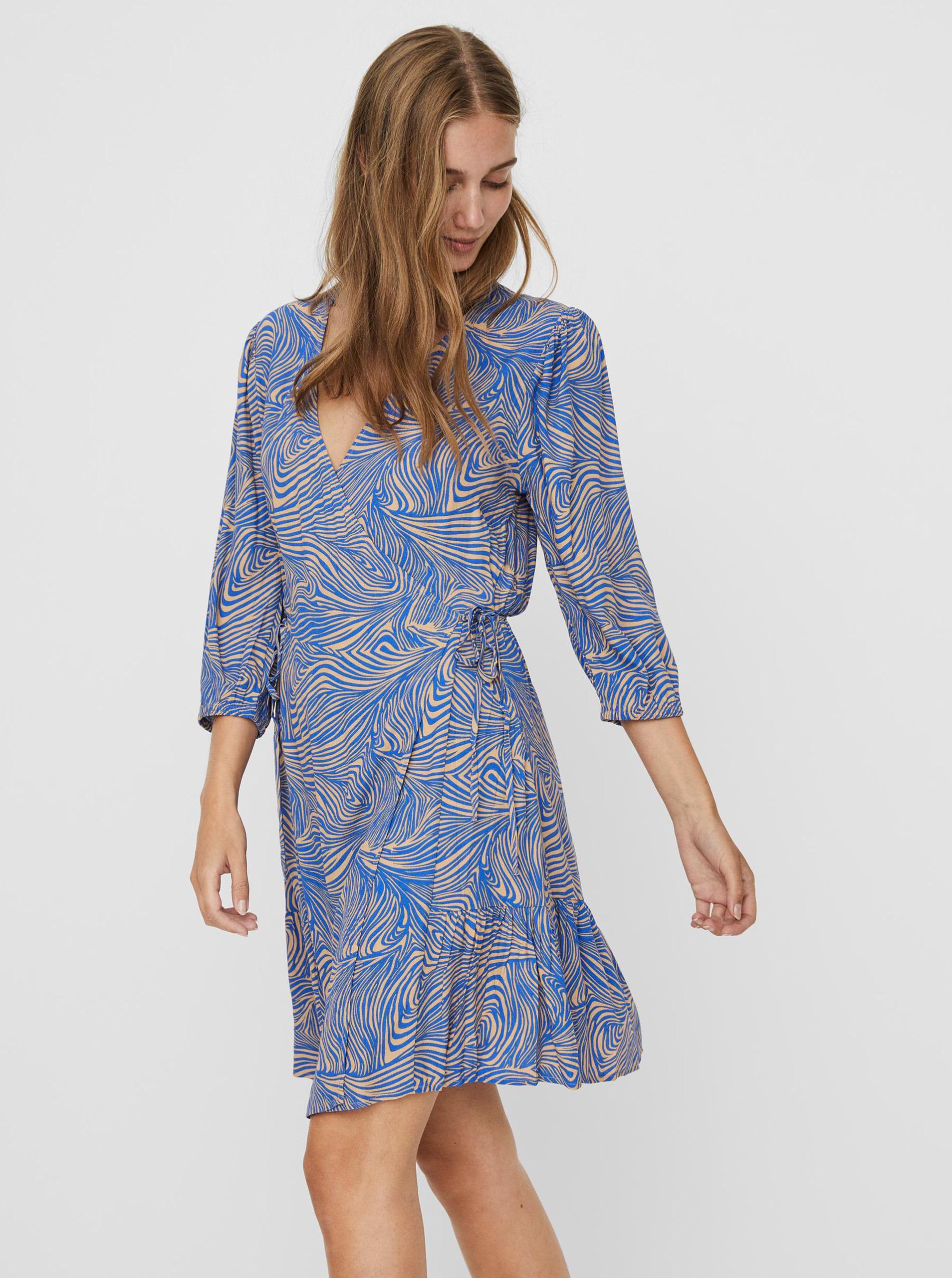 Vero Moda modré šaty Gea so vzormi - XS