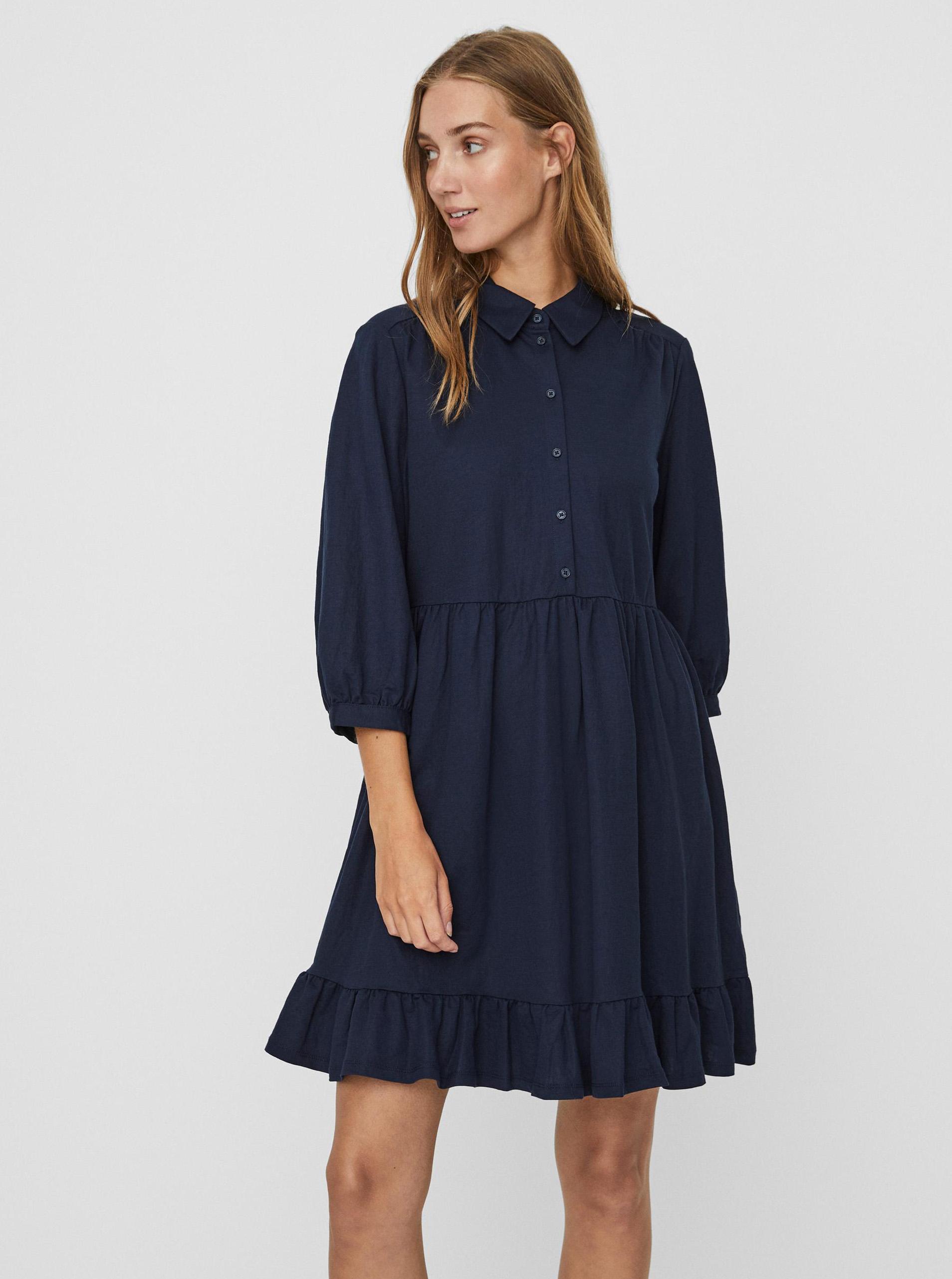 Vero Moda modré košeľové šaty Gaelle - XL