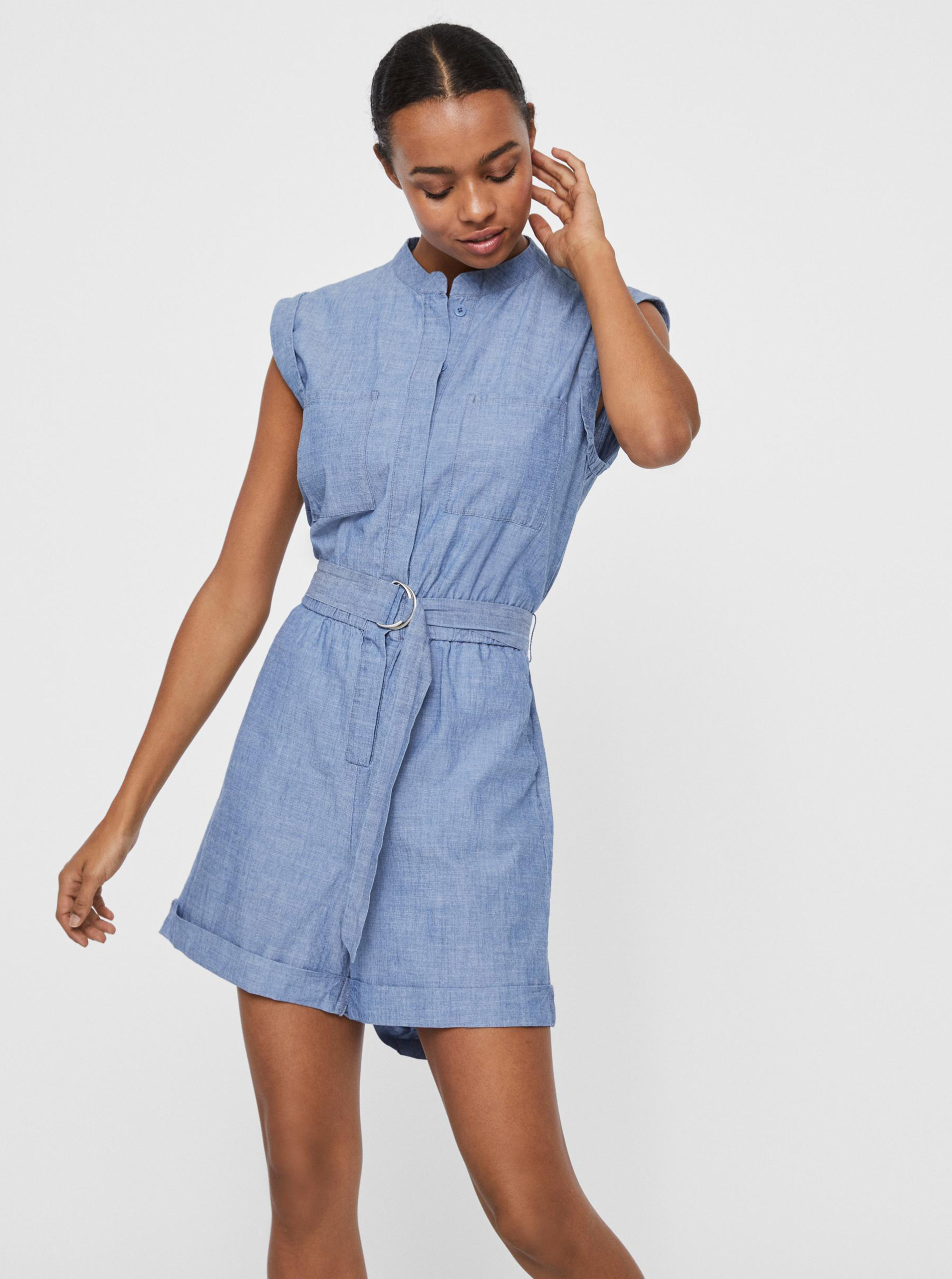 Vero Moda modré overal Akela s opaskom - XS