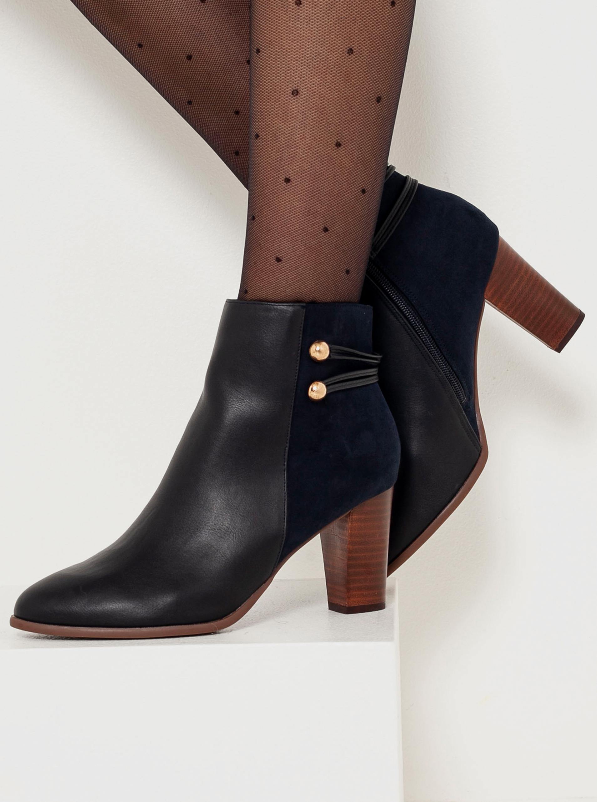 CAMAIEU čierne členkové topánky na podpätku - 40
