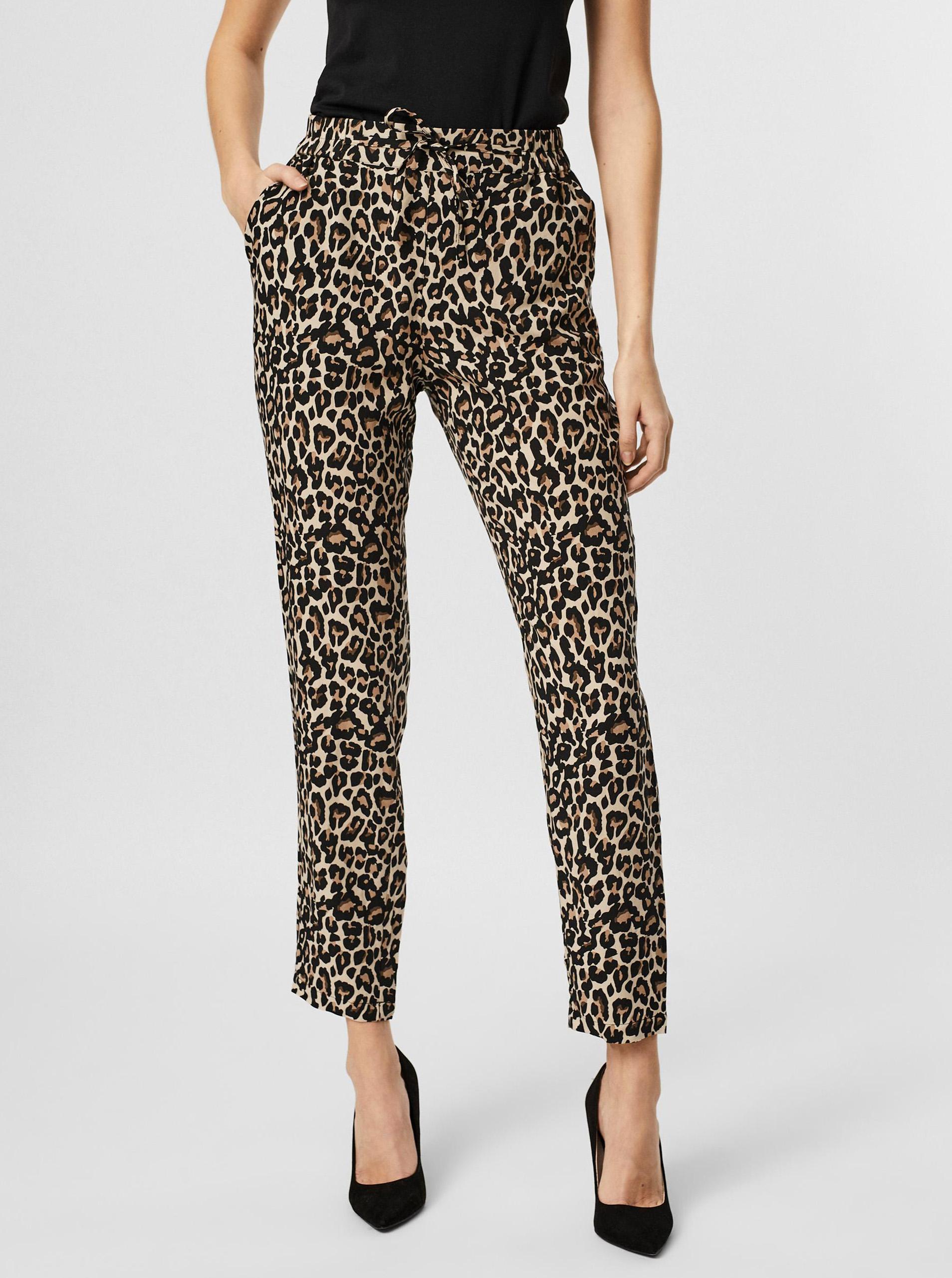 Vero Moda skrátené nohavice Simply s leopardím vzorom - XL