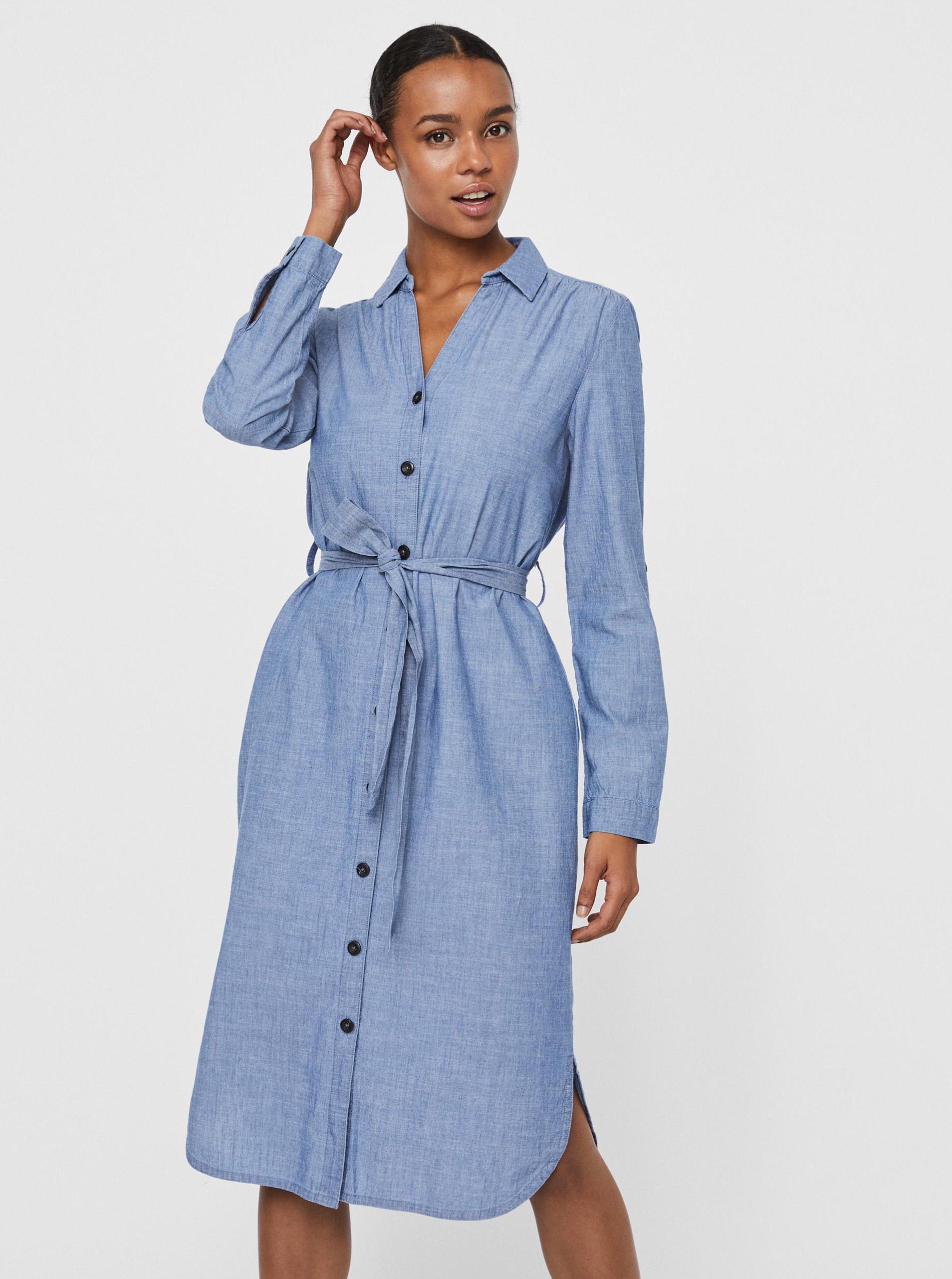 Vero Moda modré košeľové šaty Akela - XL