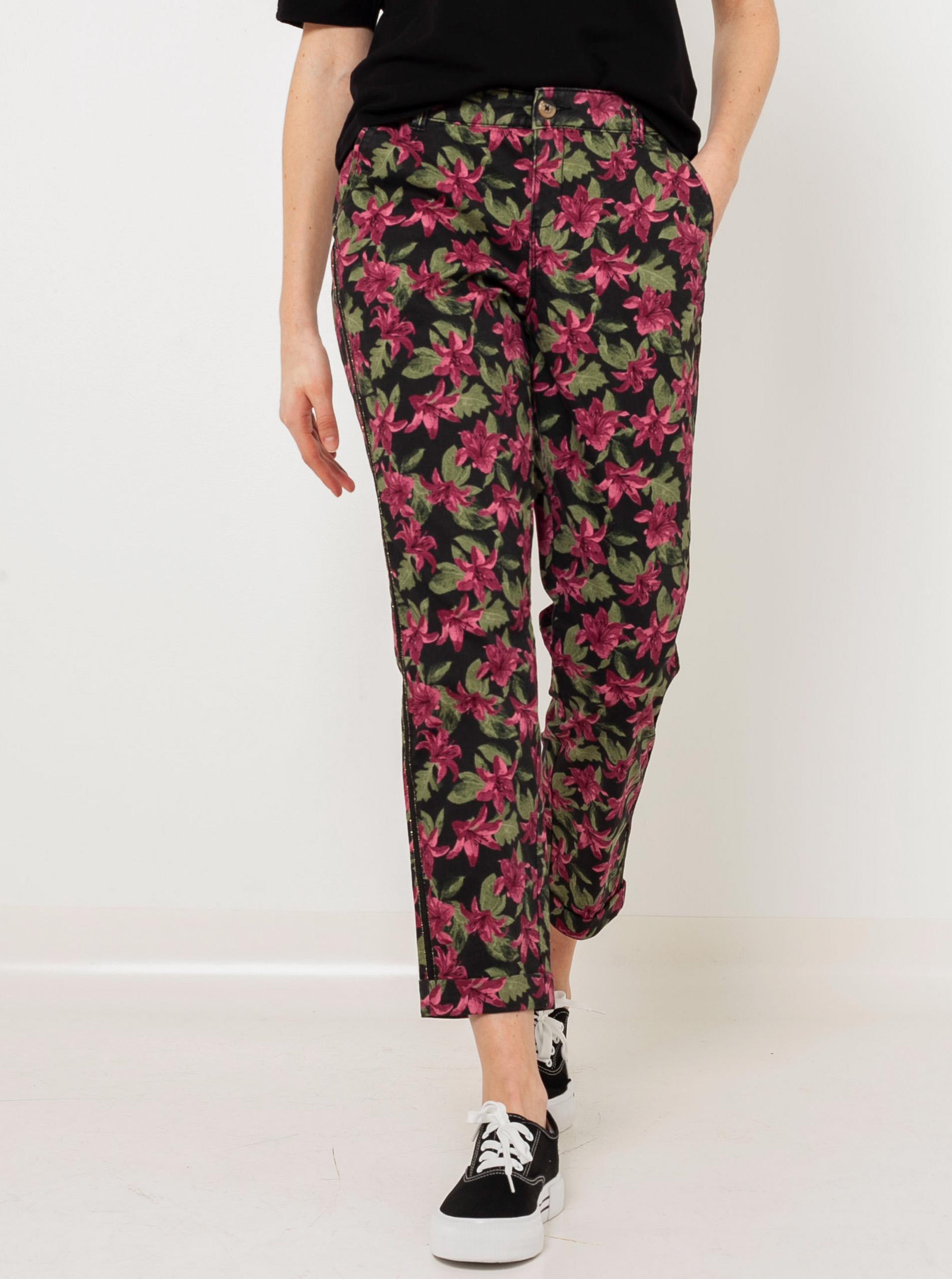 CAMAIEU čierne květované nohavice - XL
