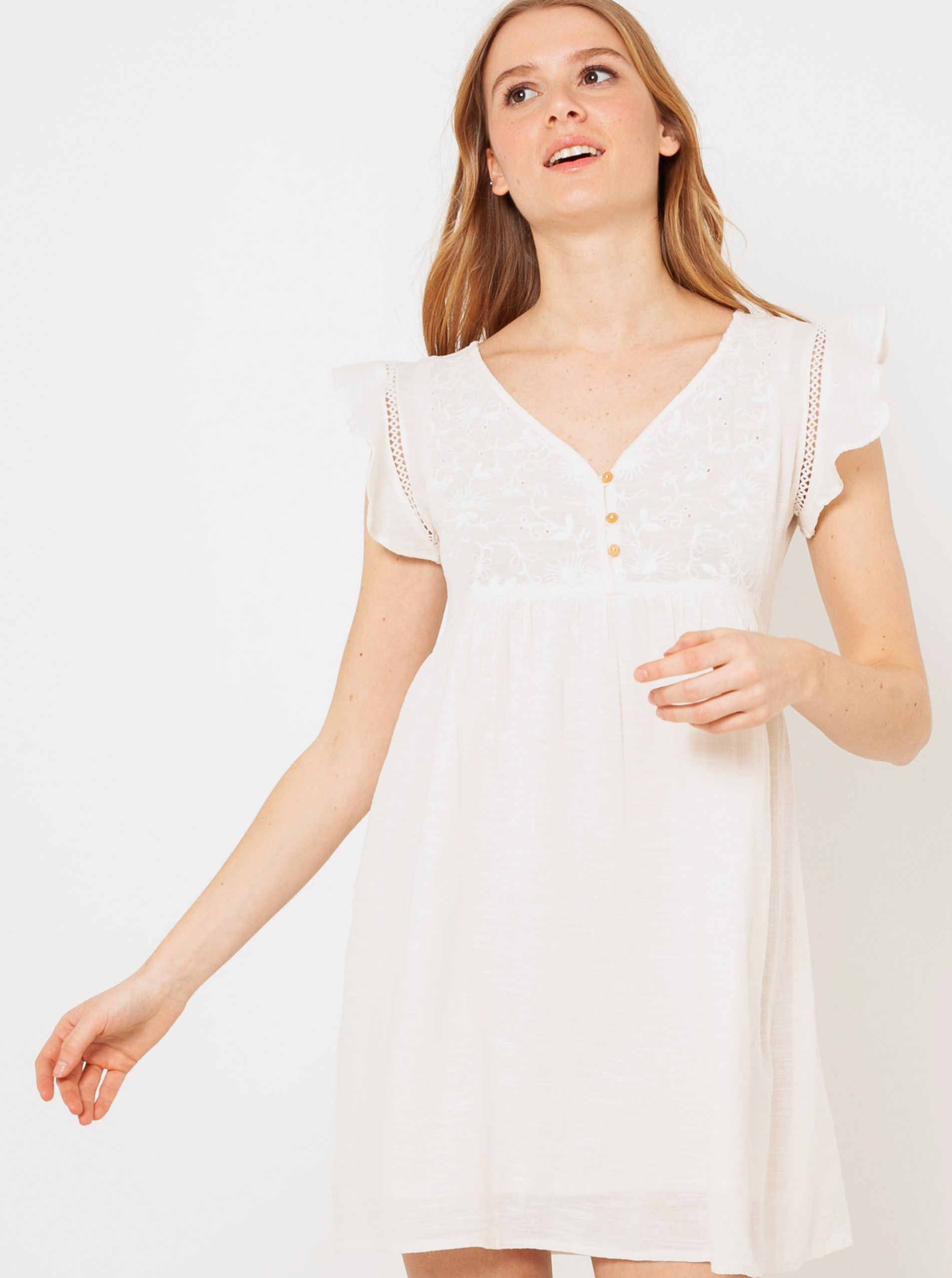 Krémové šaty s volánmi CAMAIEU - XXL