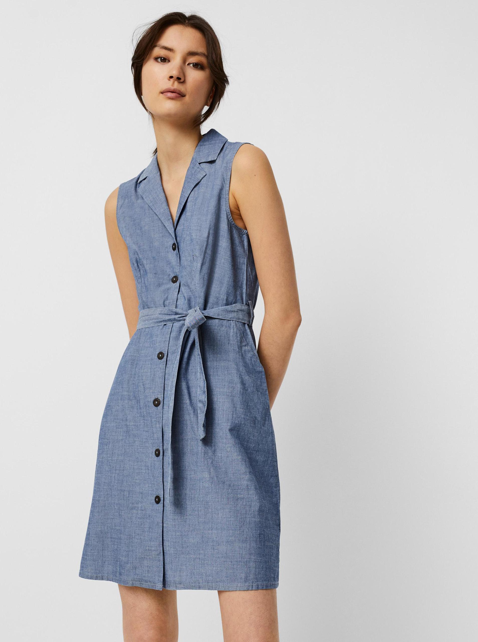 Vero Moda modré košeľové šaty Sandy - XL