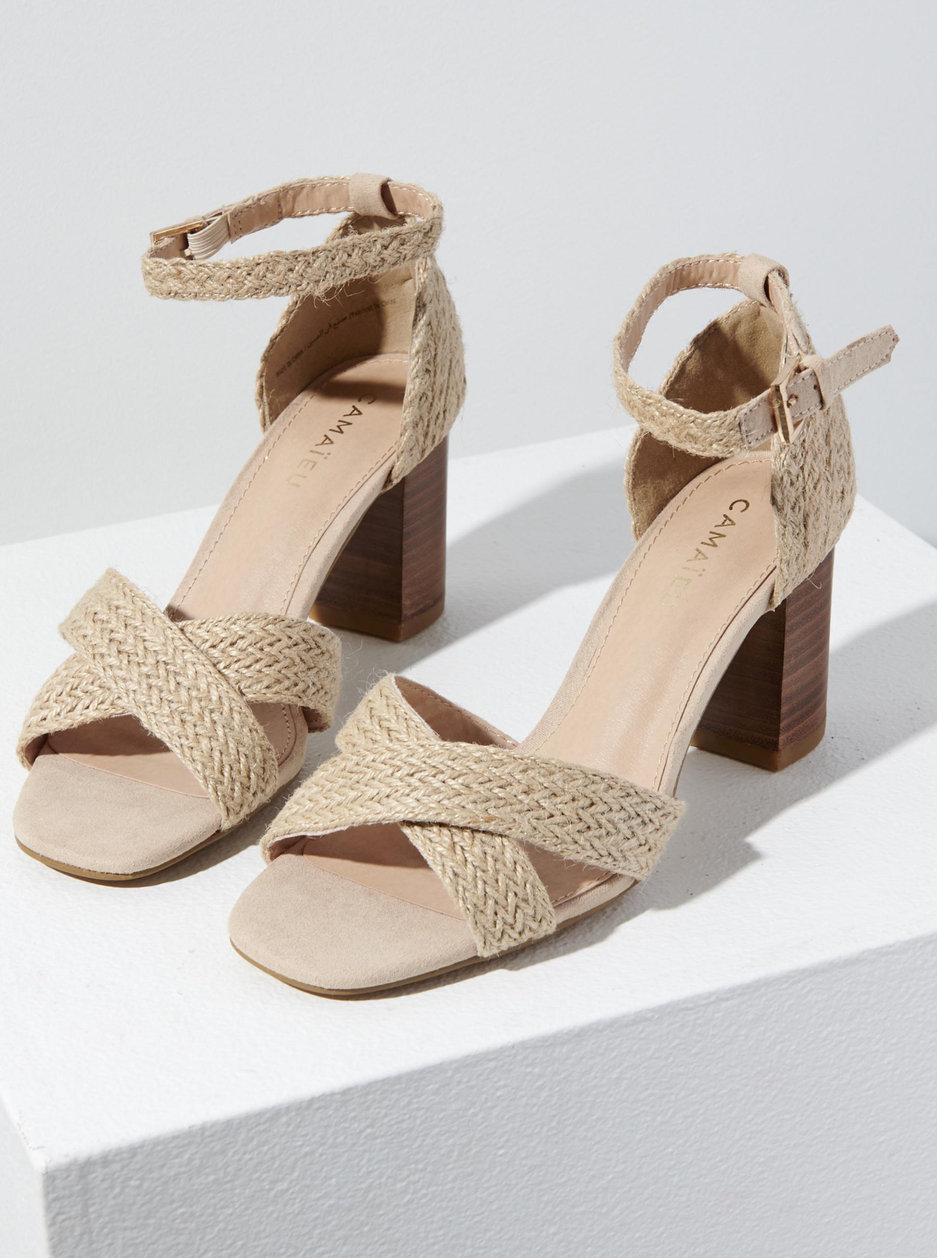 CAMAIEU béžové sandále na podpätku - 40