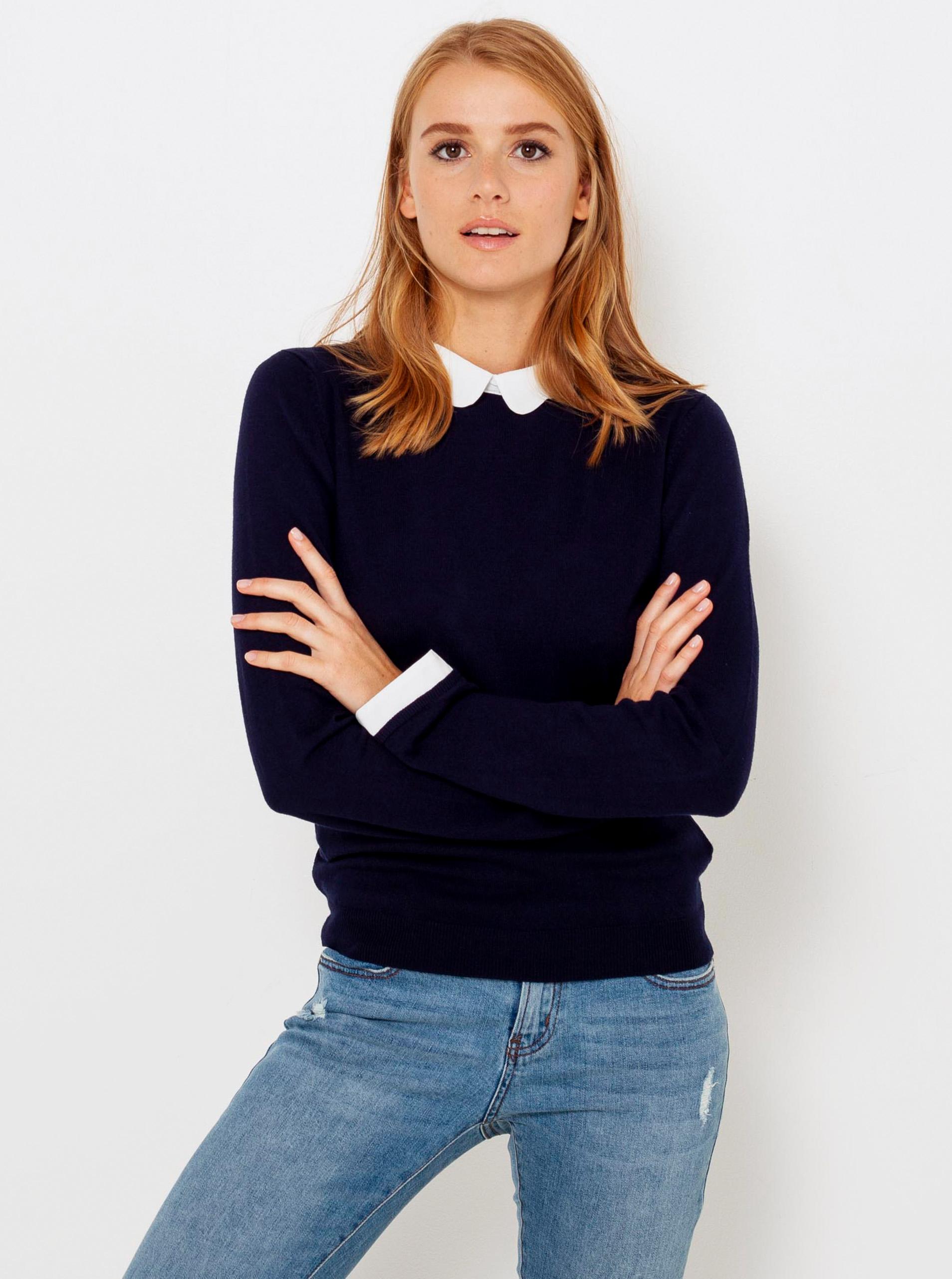 CAMAIEU modré dámsky sveter s všitým košeľovým vsadením - L