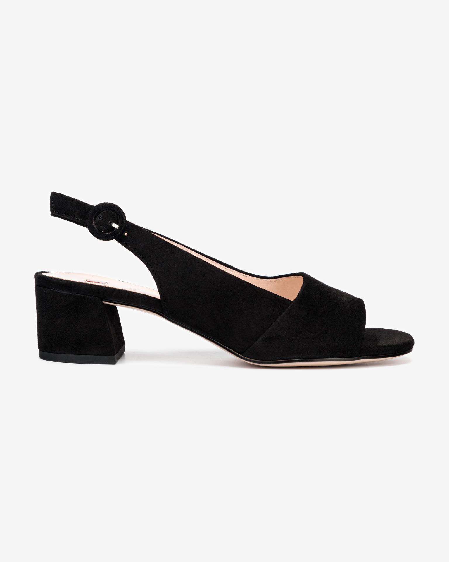 Högl čierne kožené topánky na podpätku - 38
