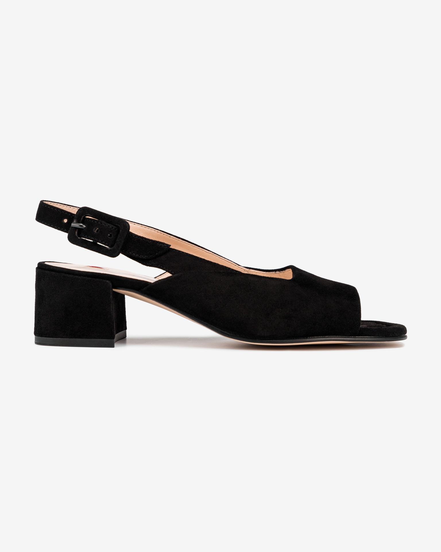 Högl čierne kožené topánky na podpätku - 35