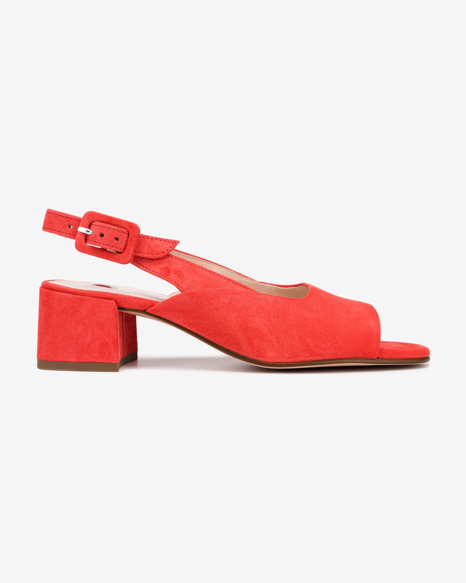 Högl červené kožené topánky na podpätku - 40