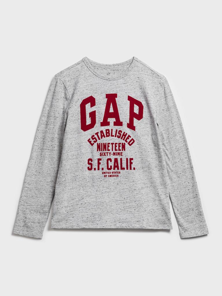 Šedé chlapčenské tričko GAP logo - 134-140