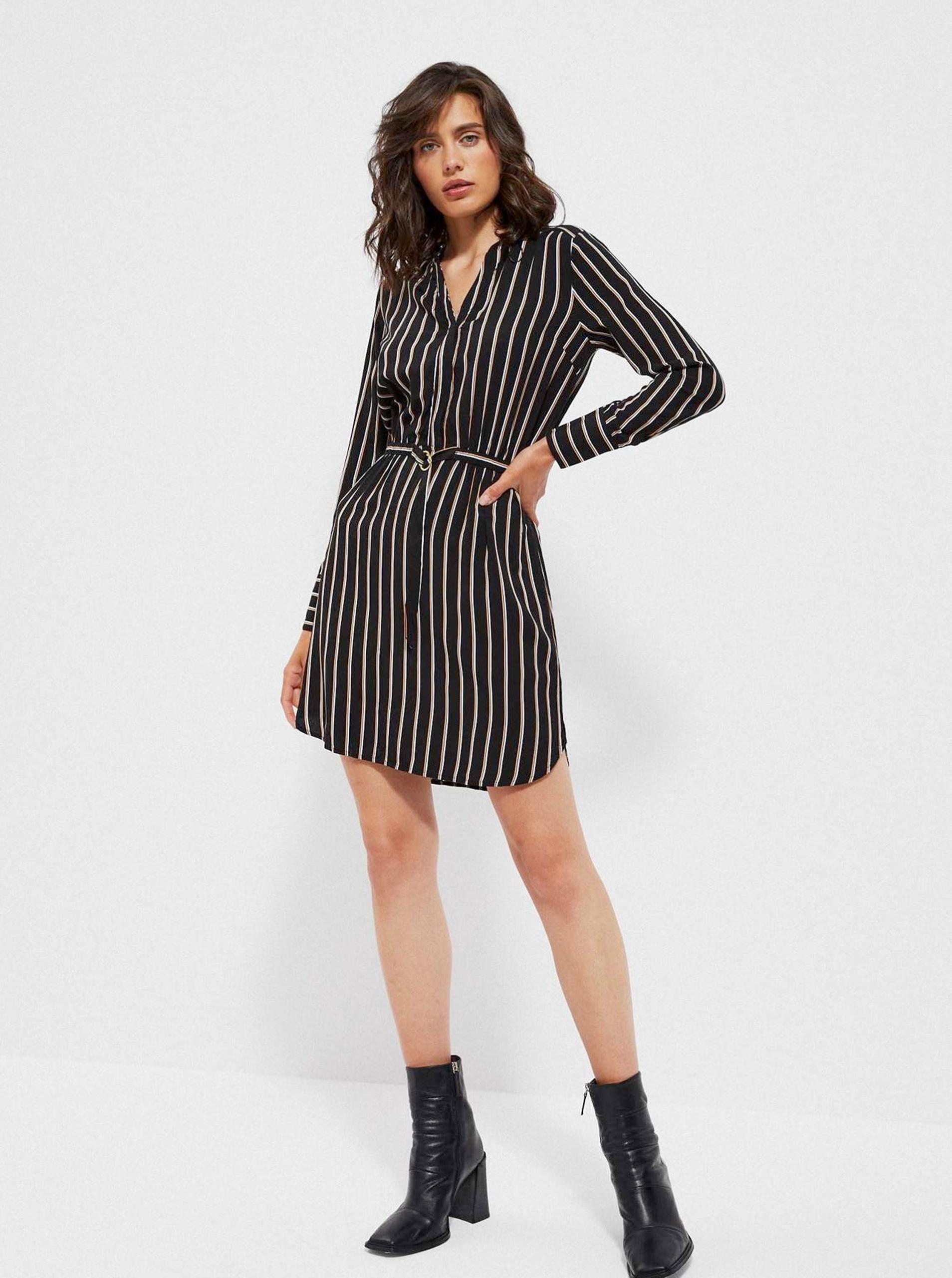 Moodo čierne pruhované šaty - 46