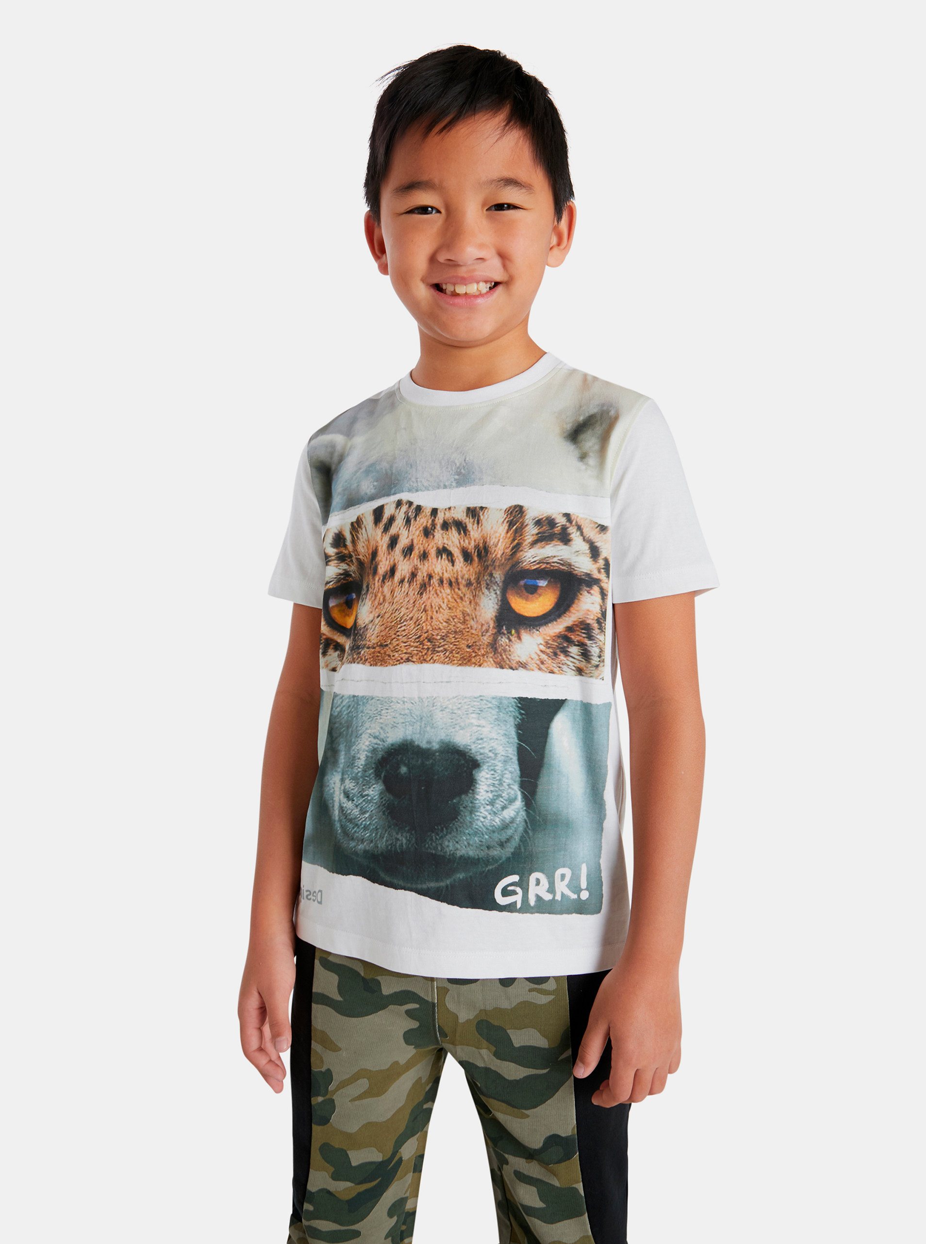 Desigual biele chlapčenské tričko Animals - 110-116