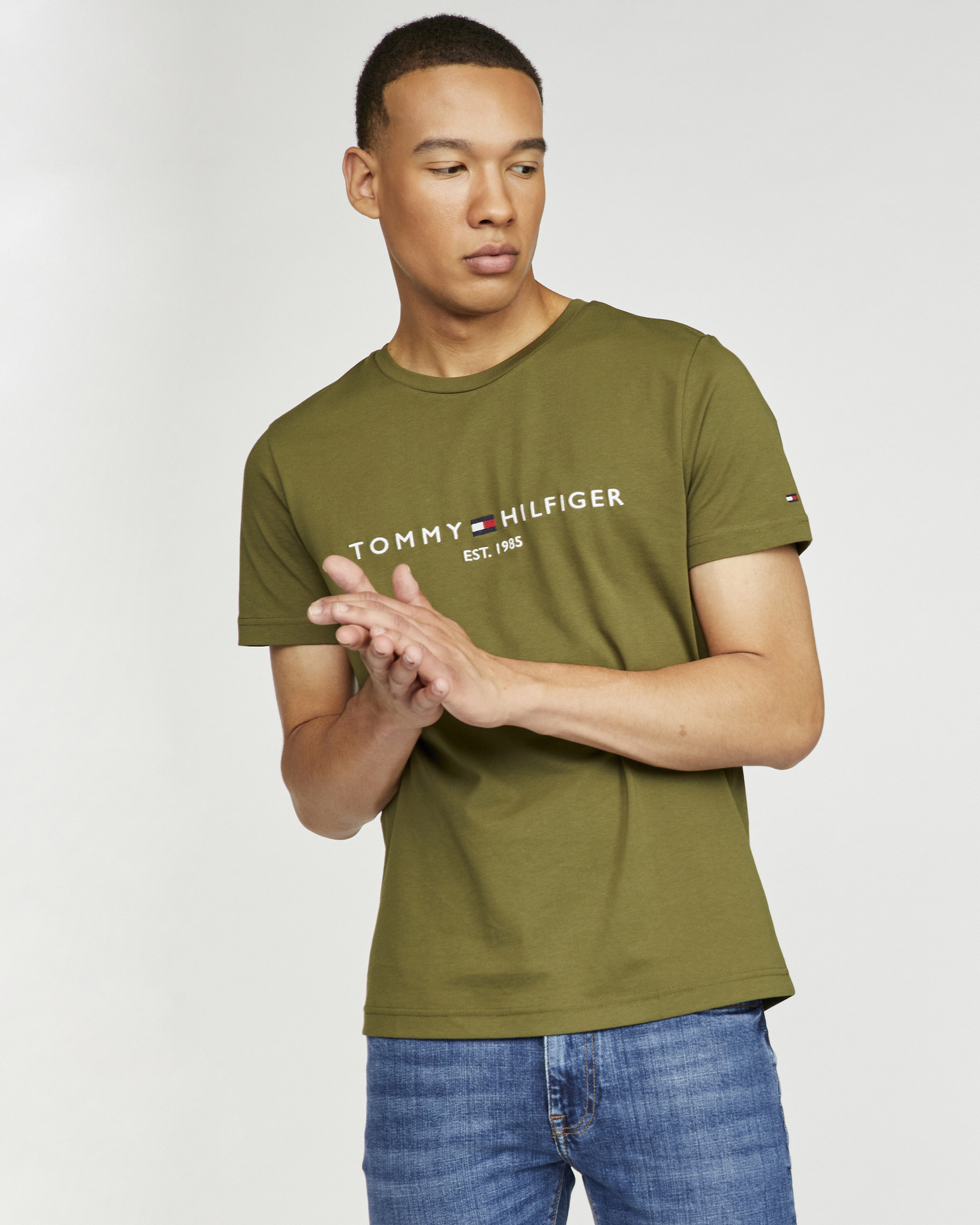 Tommy Hilfiger khaki pánske tričko - L