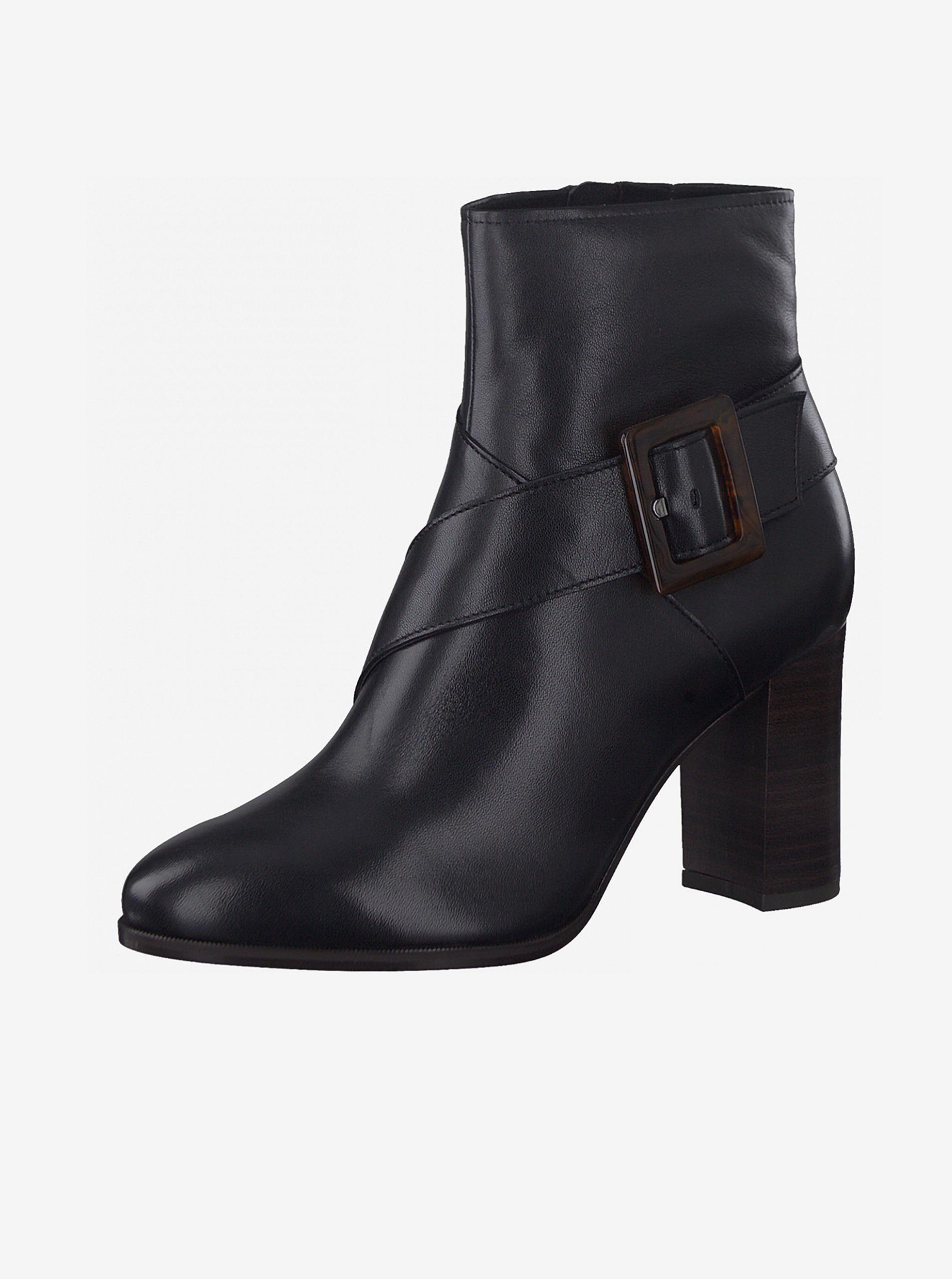Tamaris čierne členkové kožené topánky na podpätku - 36