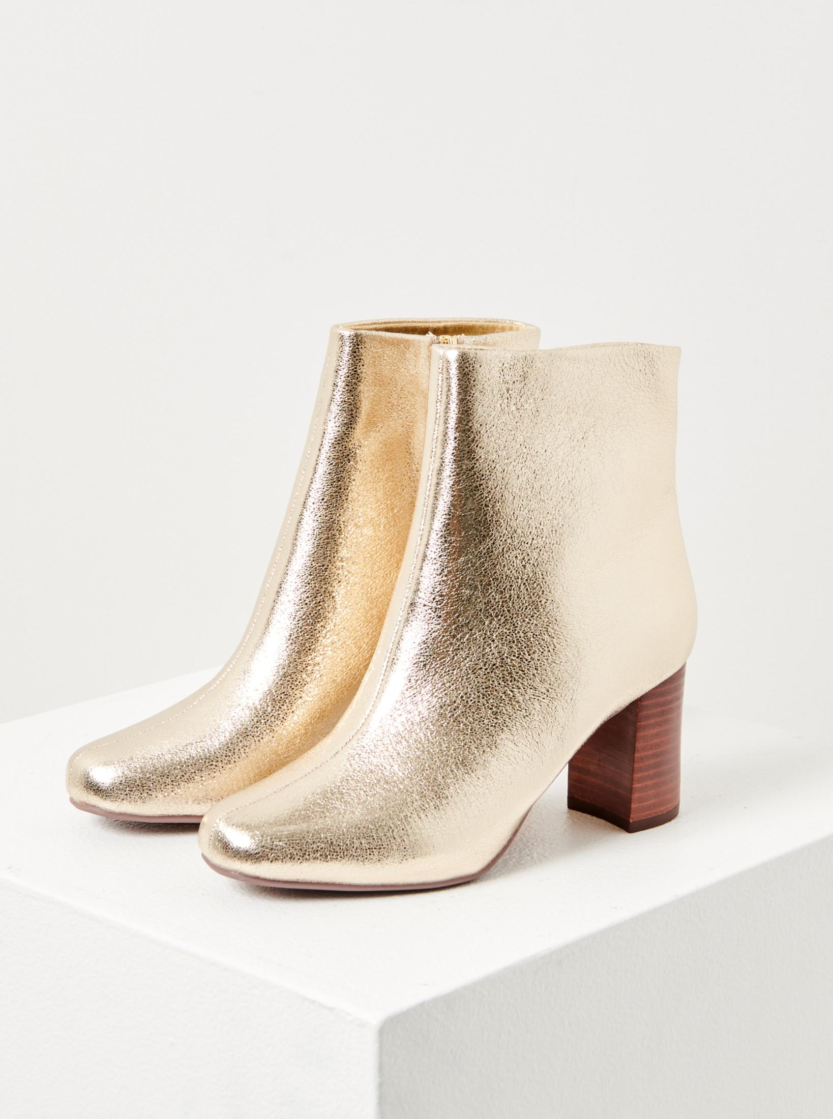 CAMAIEU zlaté členkové topánky na podpätku - 40