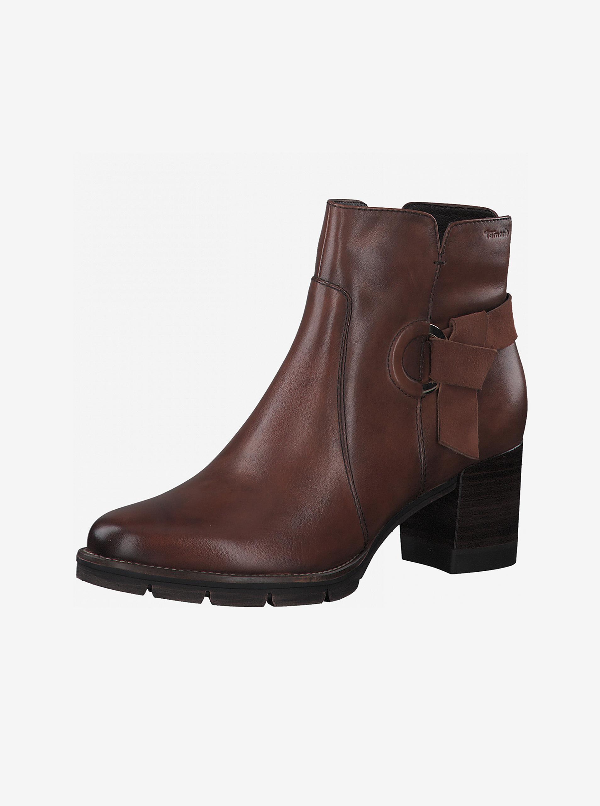 Tamaris hnedé členkové kožené topánky na podpätku - 36