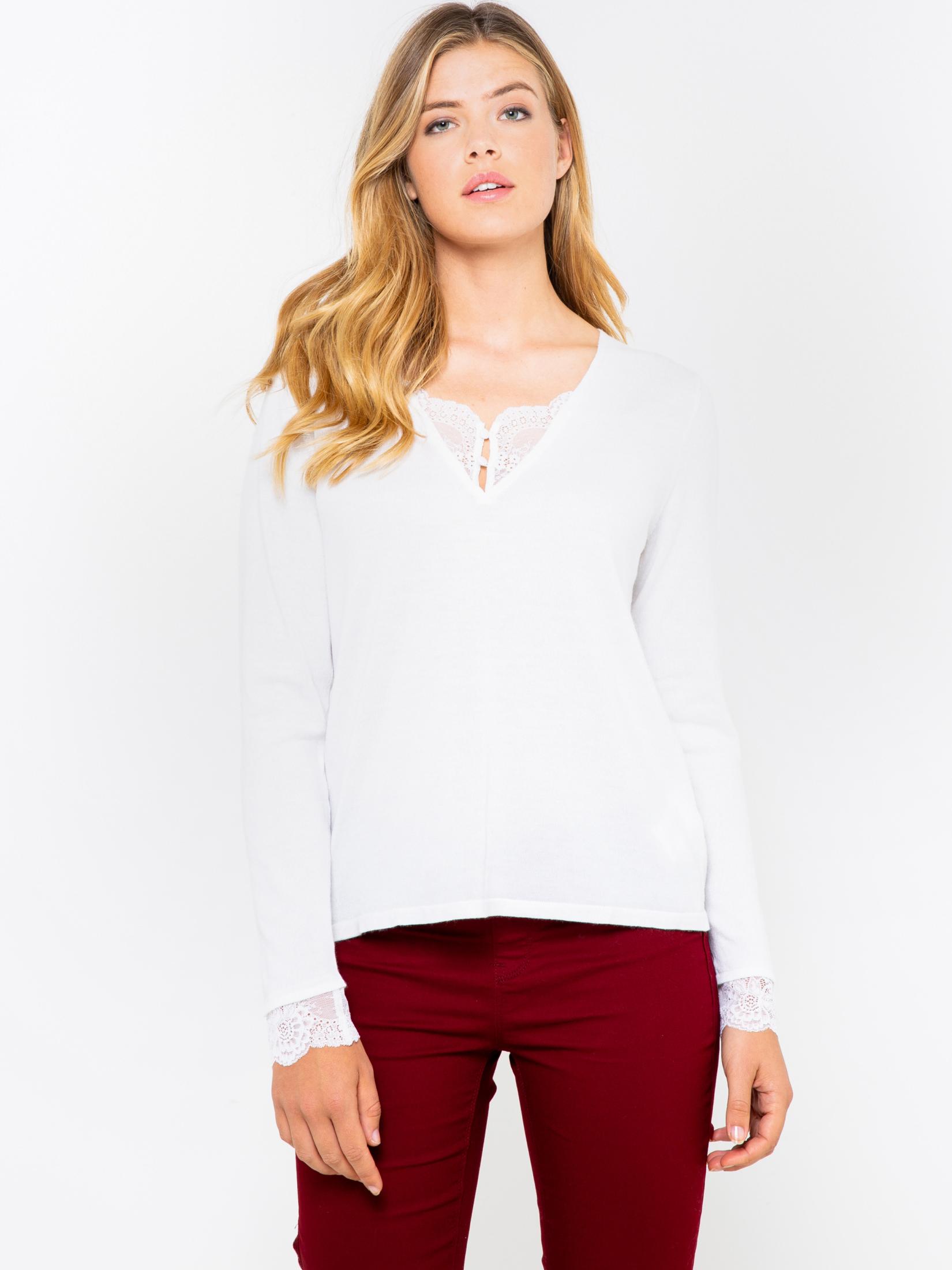 CAMAIEU biele tričko s čipkou - S