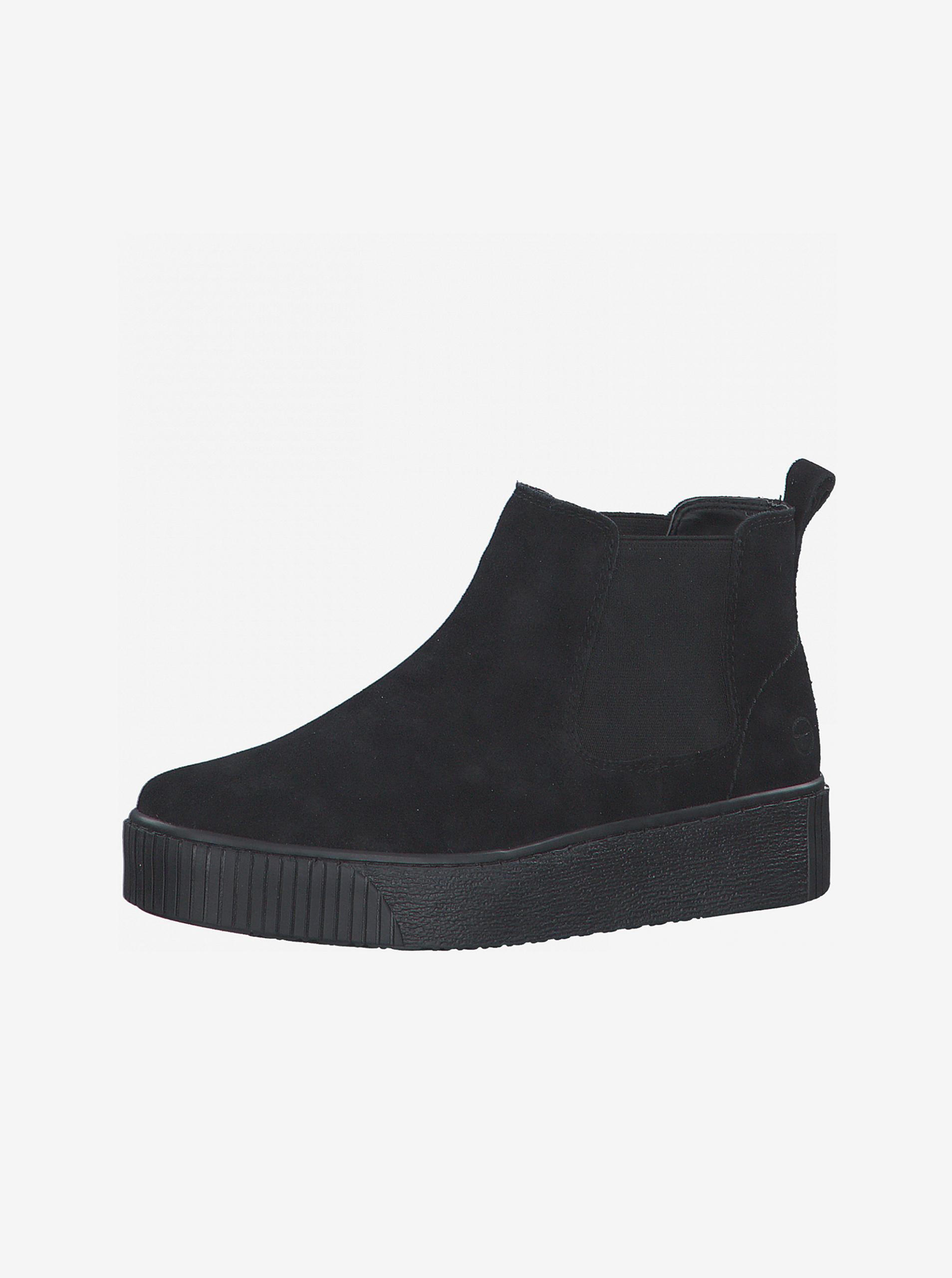 Tamaris čierne semišové chelsea topánky na platforme - 41
