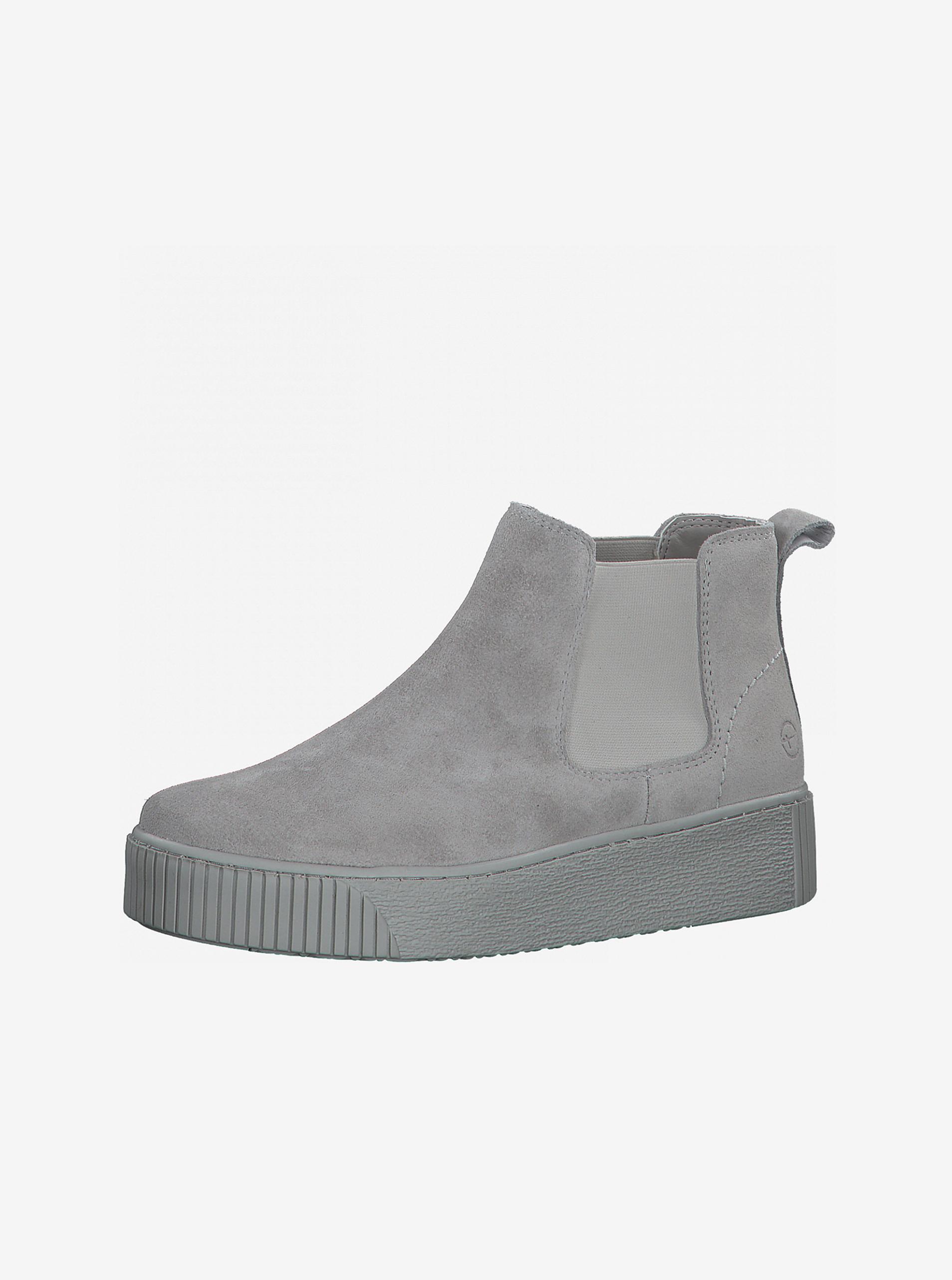 Tamaris sivé semišové chelsea topánky na platforme - 37