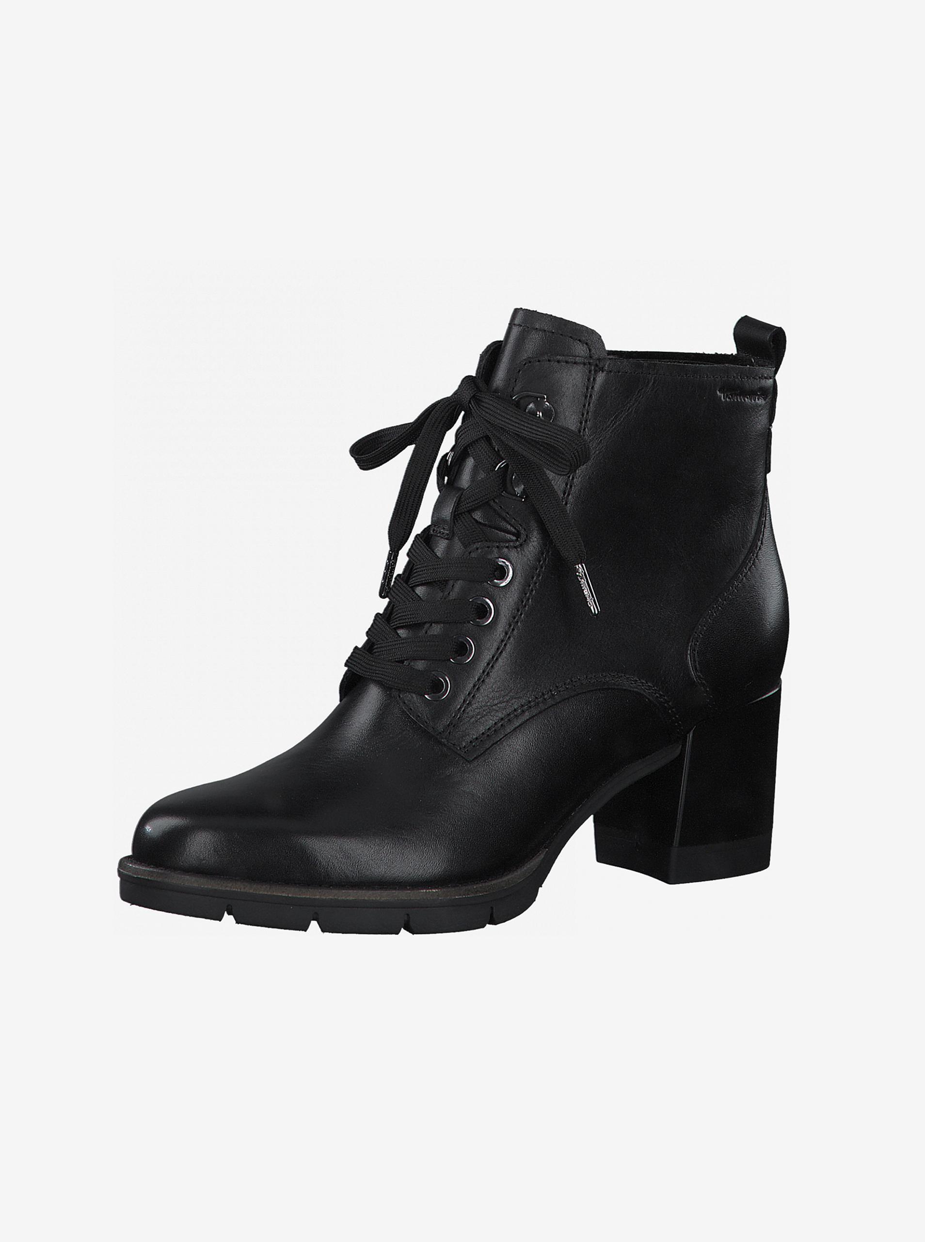Čierne kožené členkové topánky na podpätku Tamaris - 39