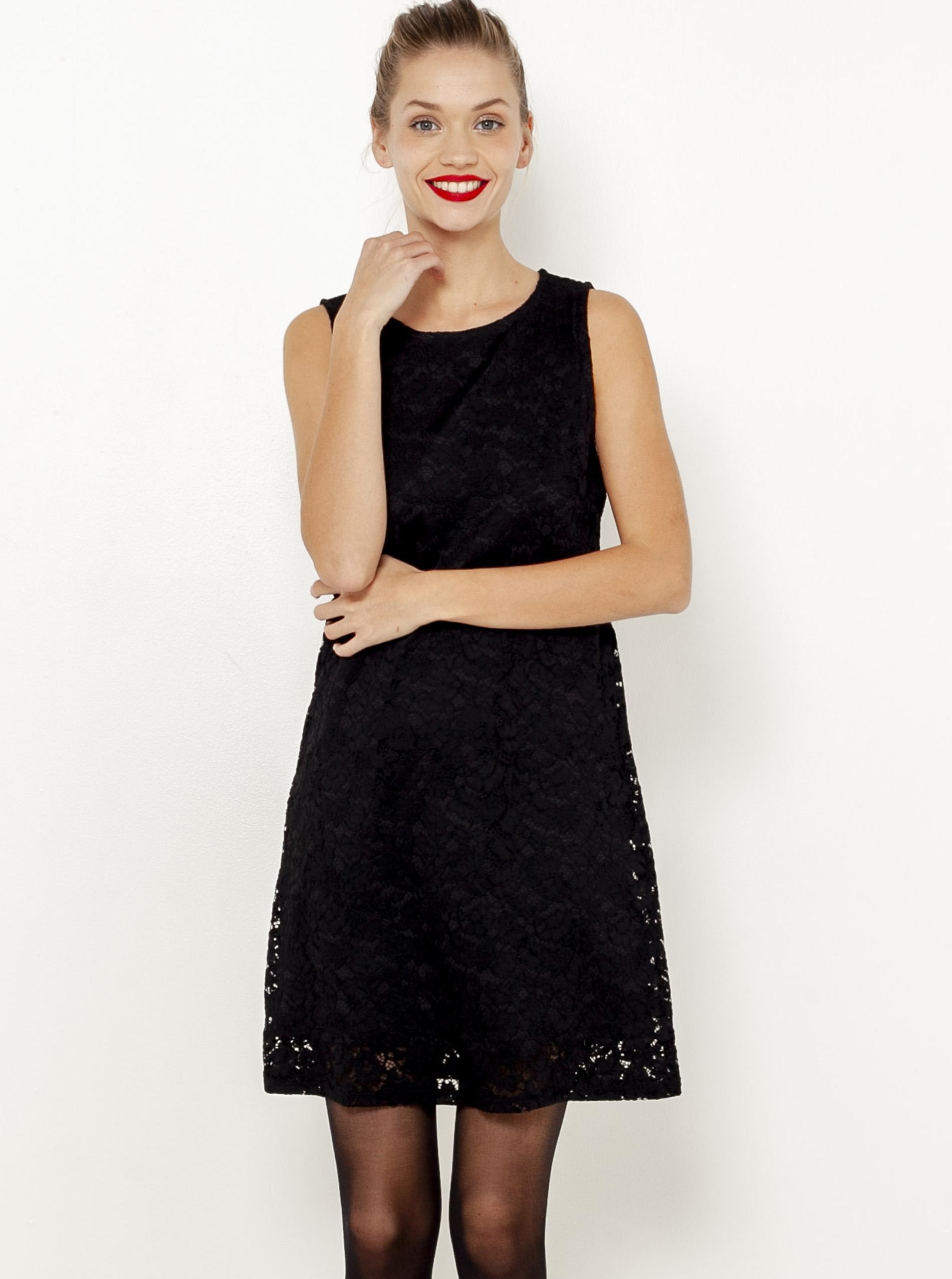 Čierne čipkované šaty Camaieu - L