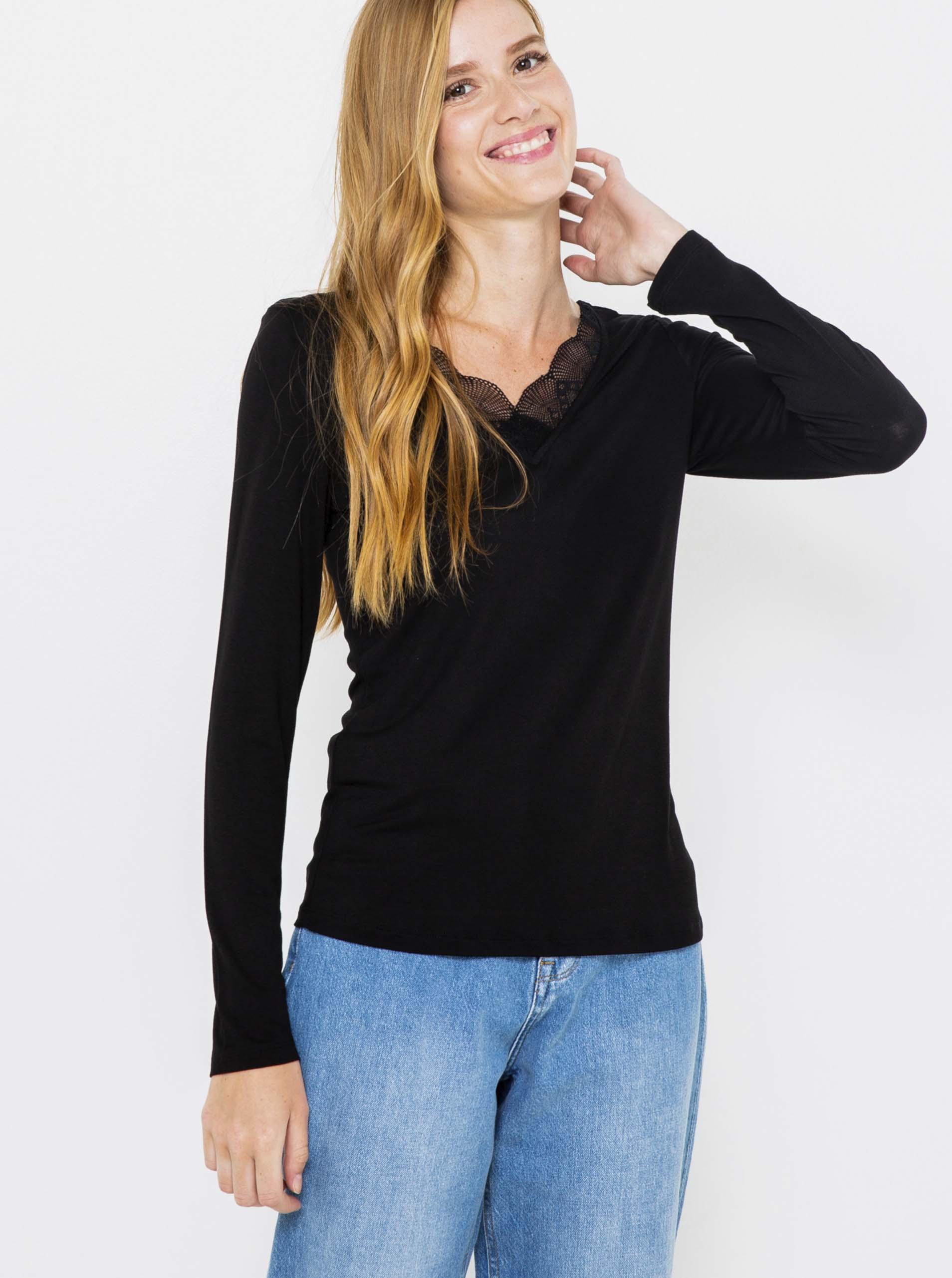 Čierne tričko s čipkou a dlhým rukávom Camaieu - S
