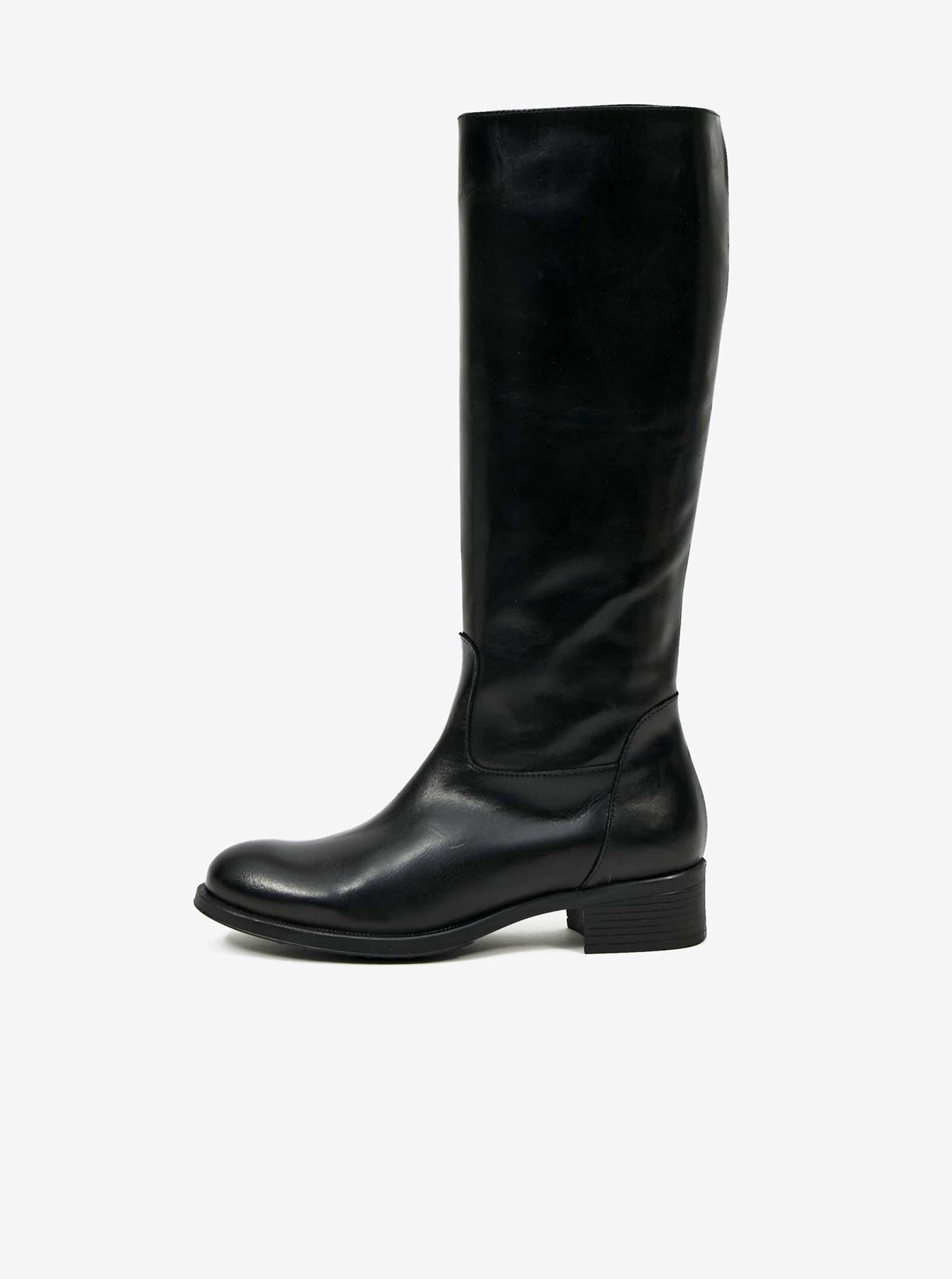 Čierne dámske kožené čižmy OJJU - 38
